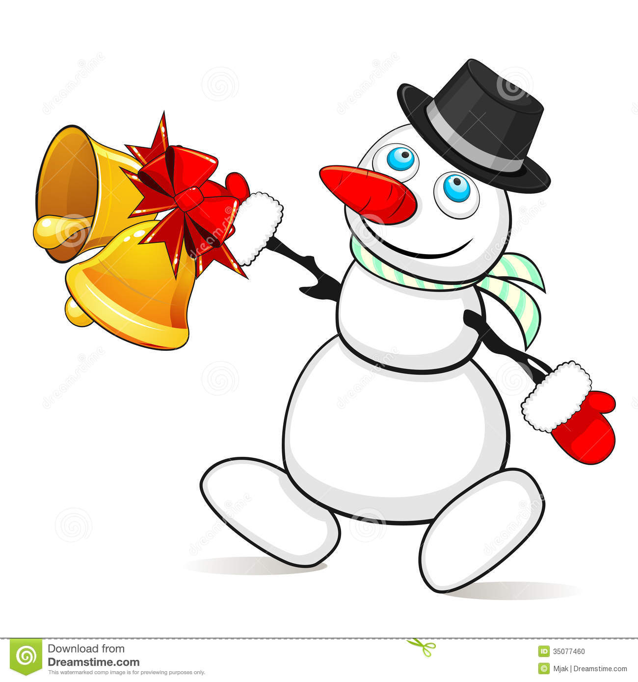 Snowman with christmas bells stock vector illustration