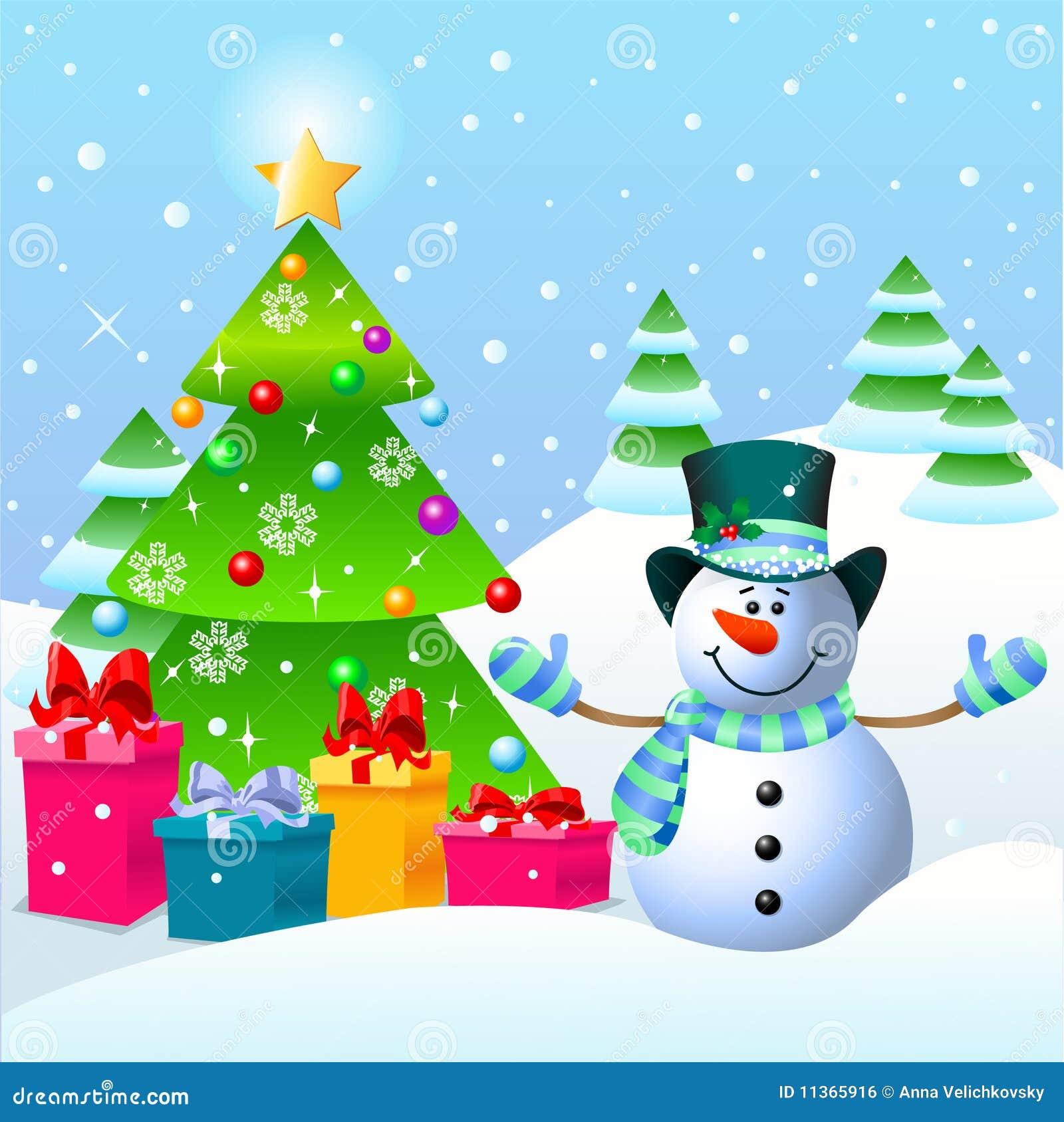 snowman and christmas tree - Snowman Christmas