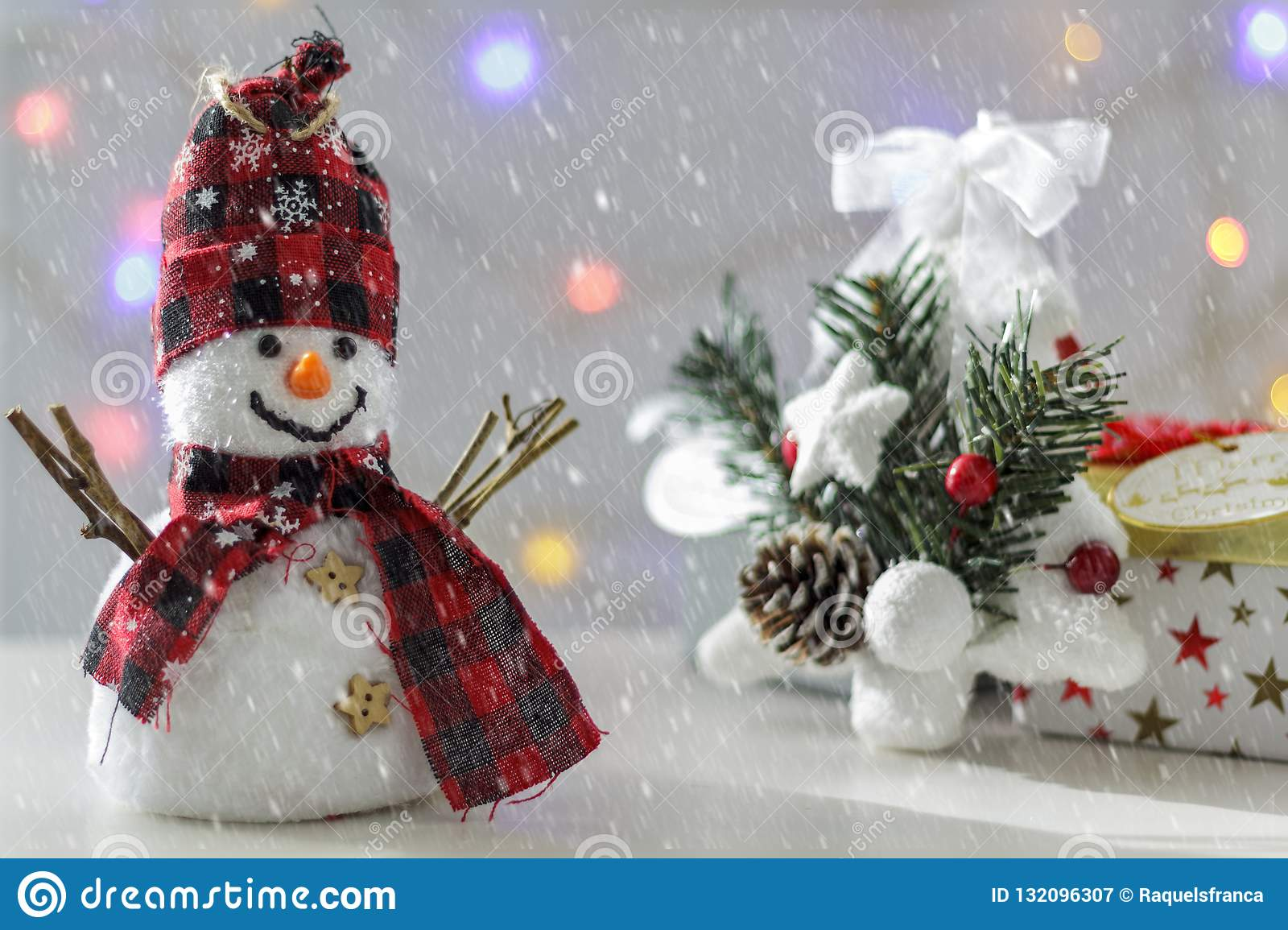 Snowman With Christmas Tree Gift Boxes And Christmas Lights On The