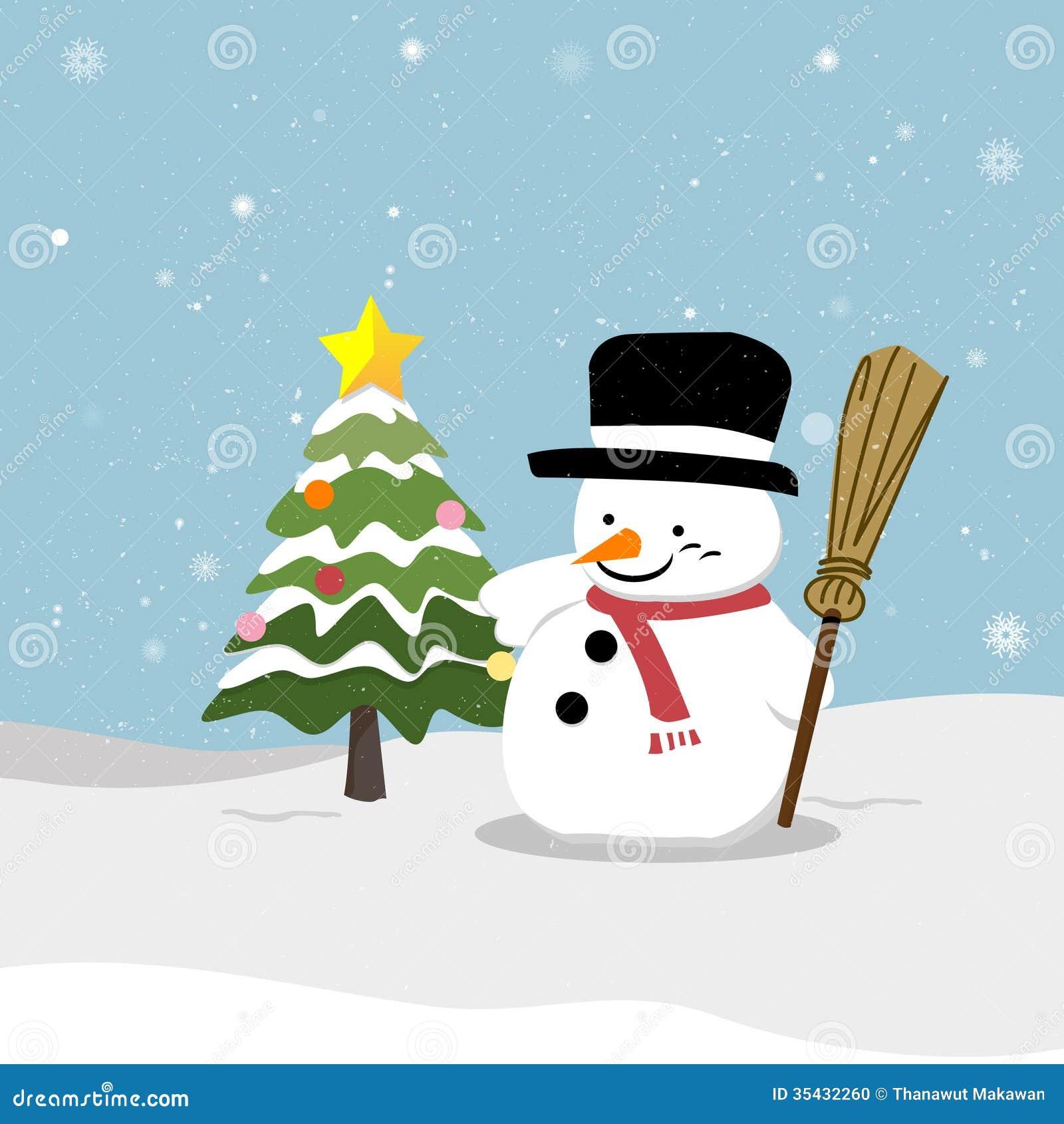 Snowman With Christmas Tree Stock Photo - Image: 35432260