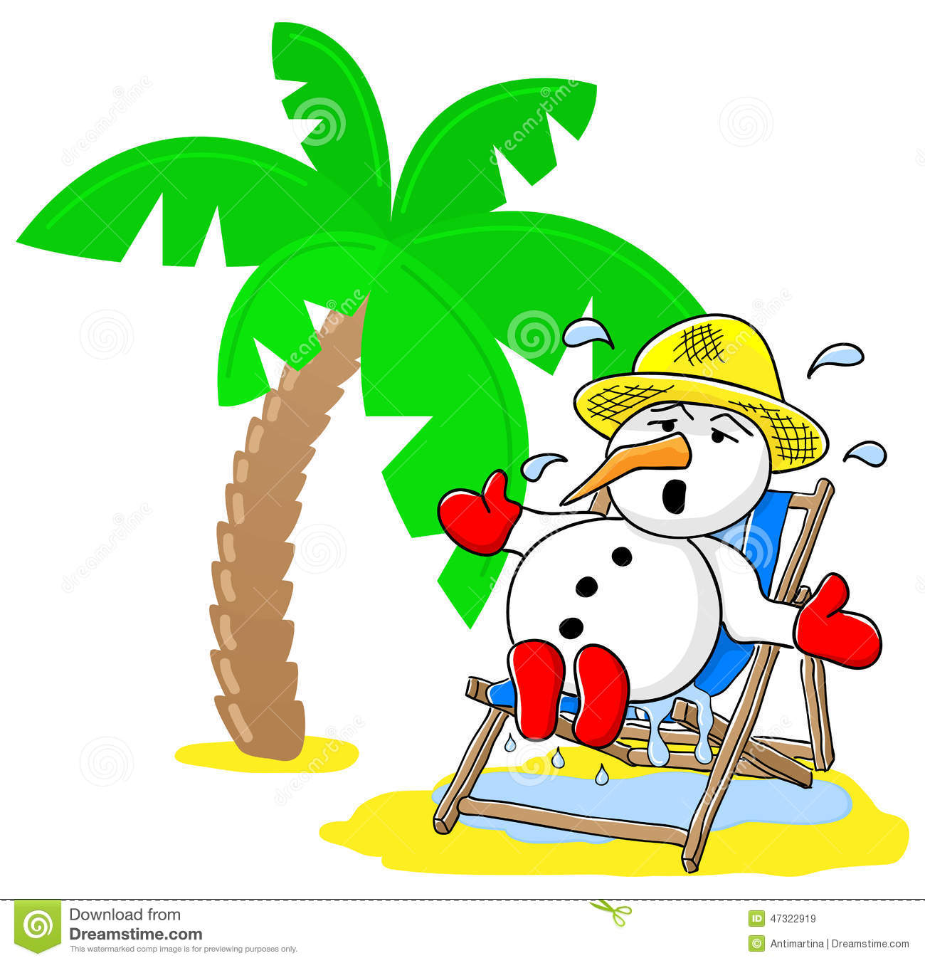 Snowman Tropical Christmas Tree Stock Illustrations – 19 Snowman ...