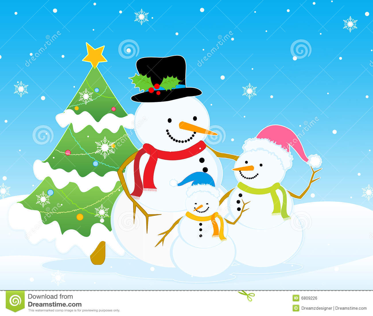 Snowman Christmas Winter Background