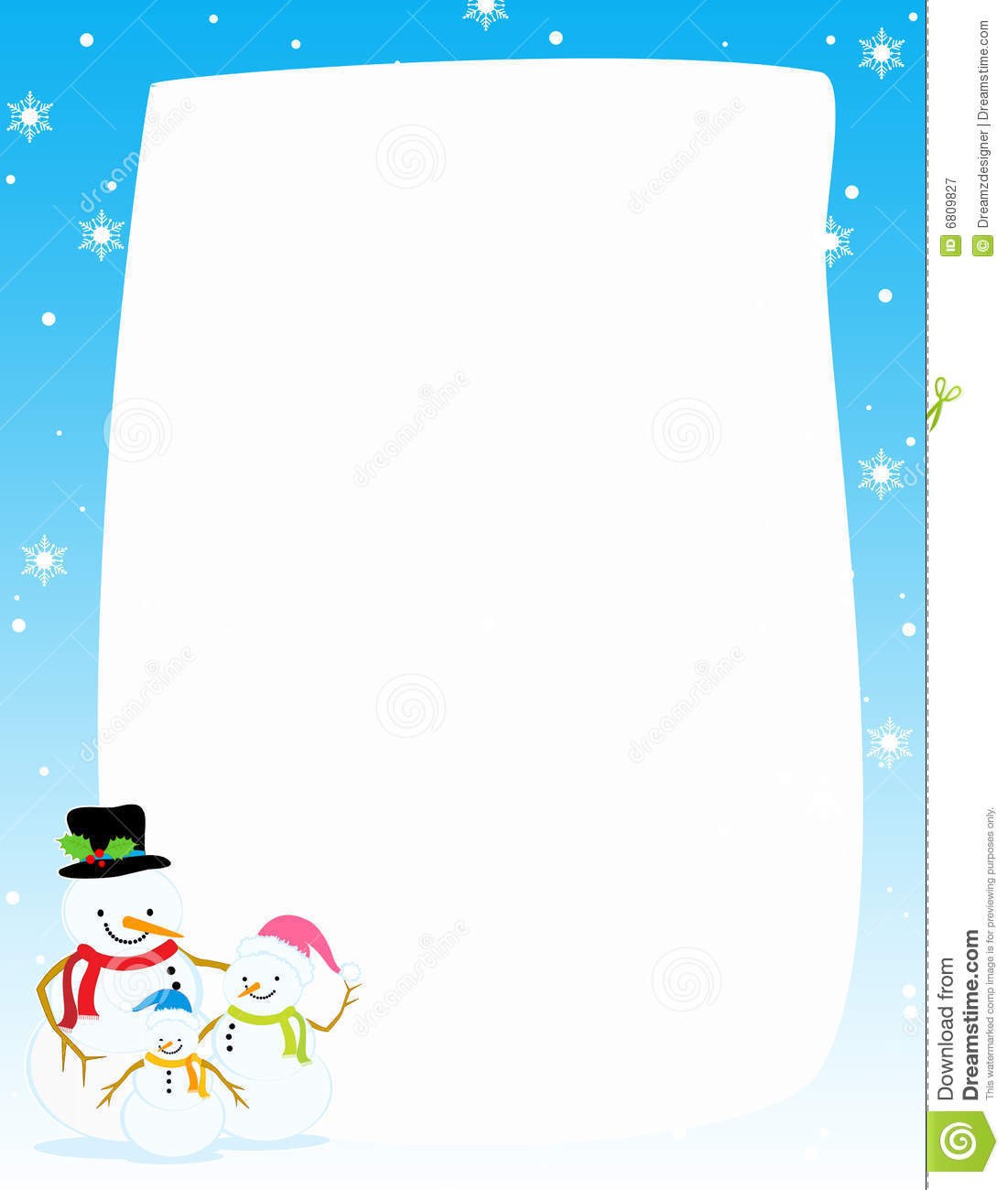 snowman christmas   winter border royalty free stock Vacation Clip Art Borders Travel Clip Art