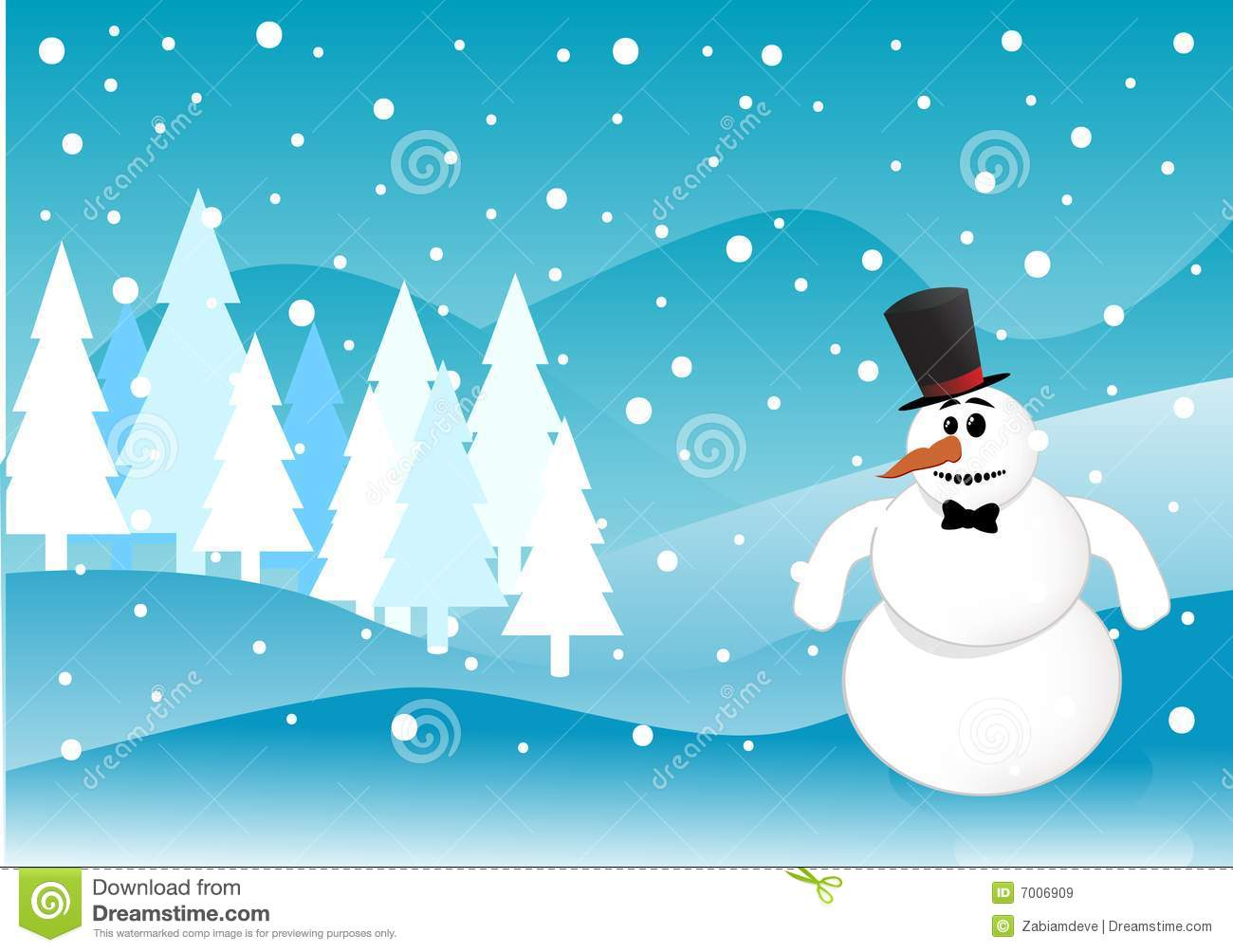 Snowman Christmas Winter Scene Royalty Free Stock Images ...