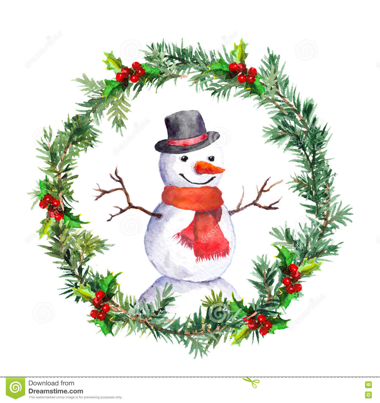 Snowman In Christmas Wreath With Fir Tree Branches Watercolor Stock Illustration