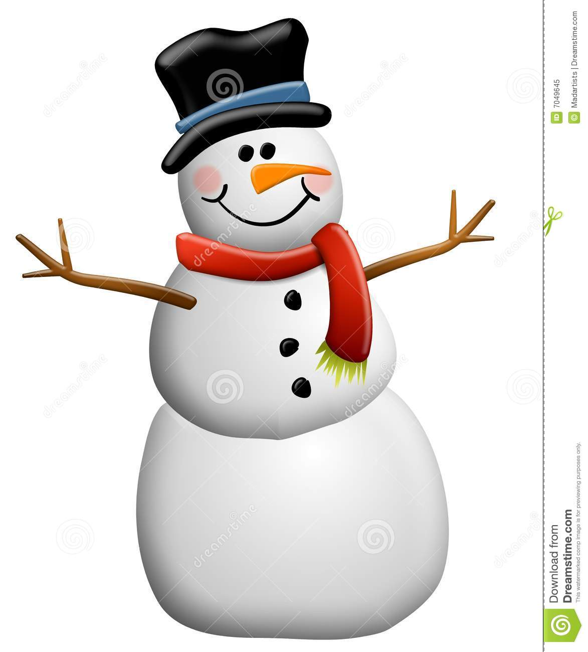 Snowman Clip Art Isolated Royalty Free Stock Photo - Image: 7049645