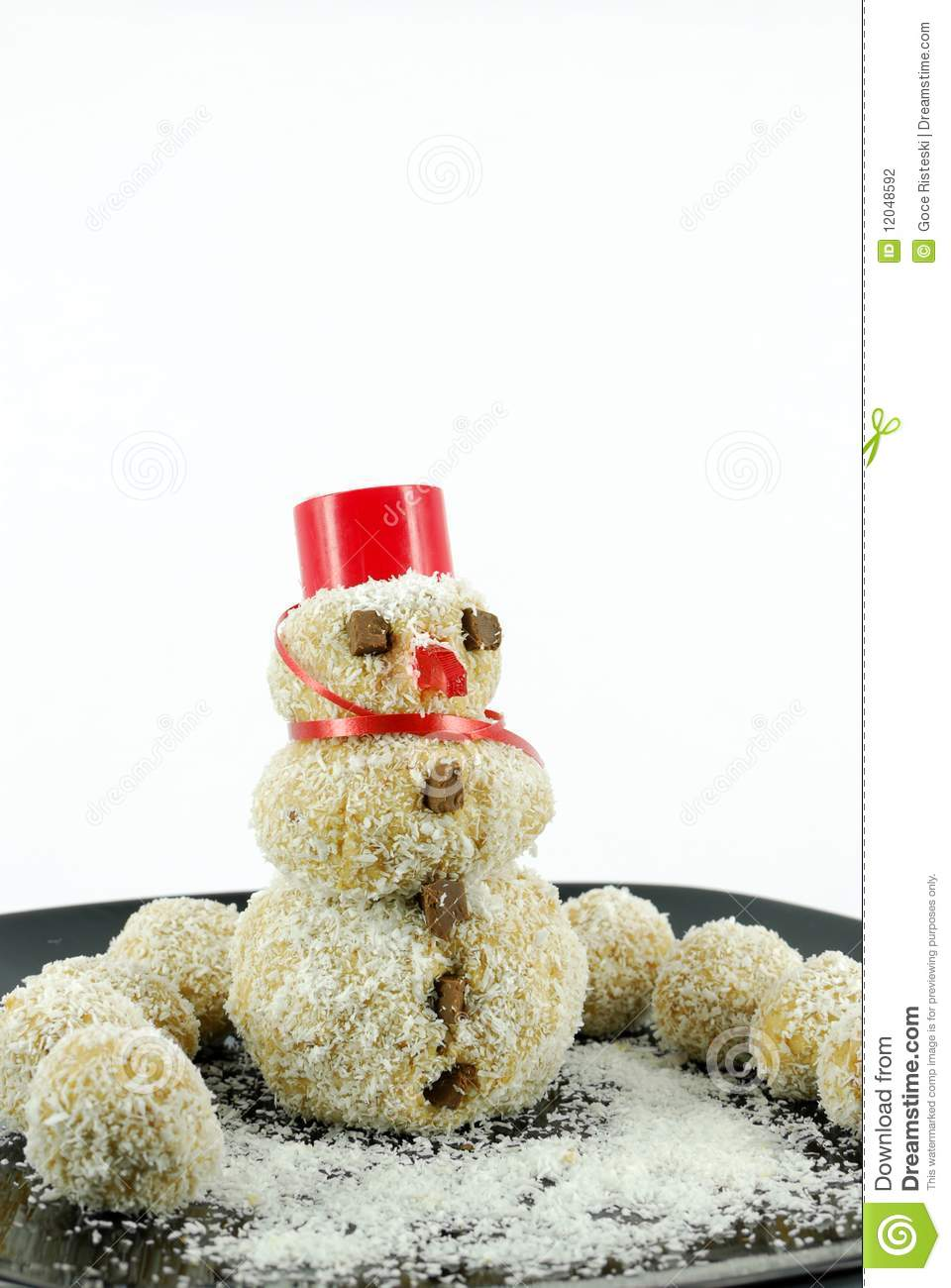 Snowman Coconut Cookie Stock Photography - Image: 12048592