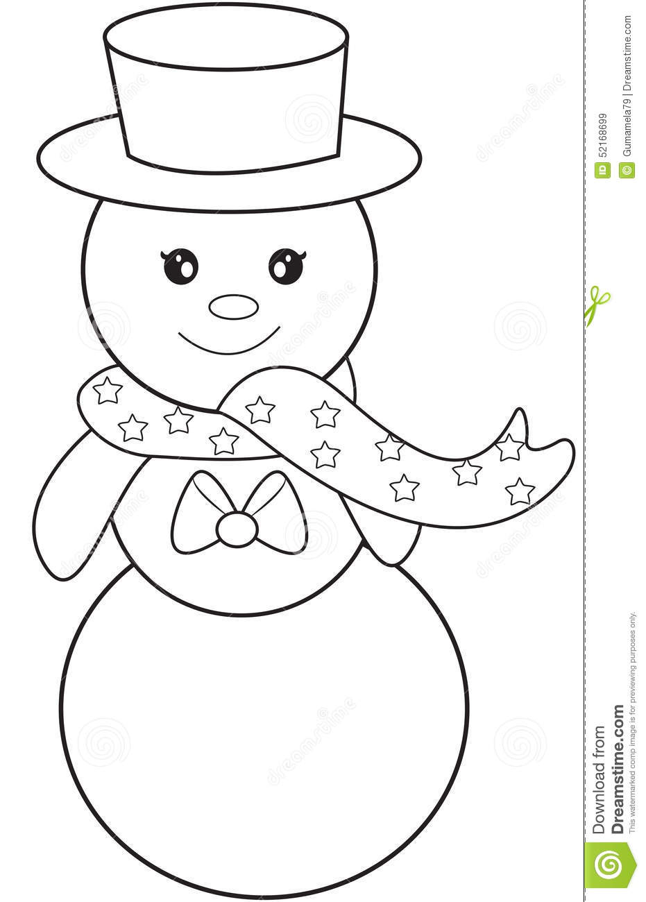 Snowman coloring page stock illustration. Illustration of clip ...