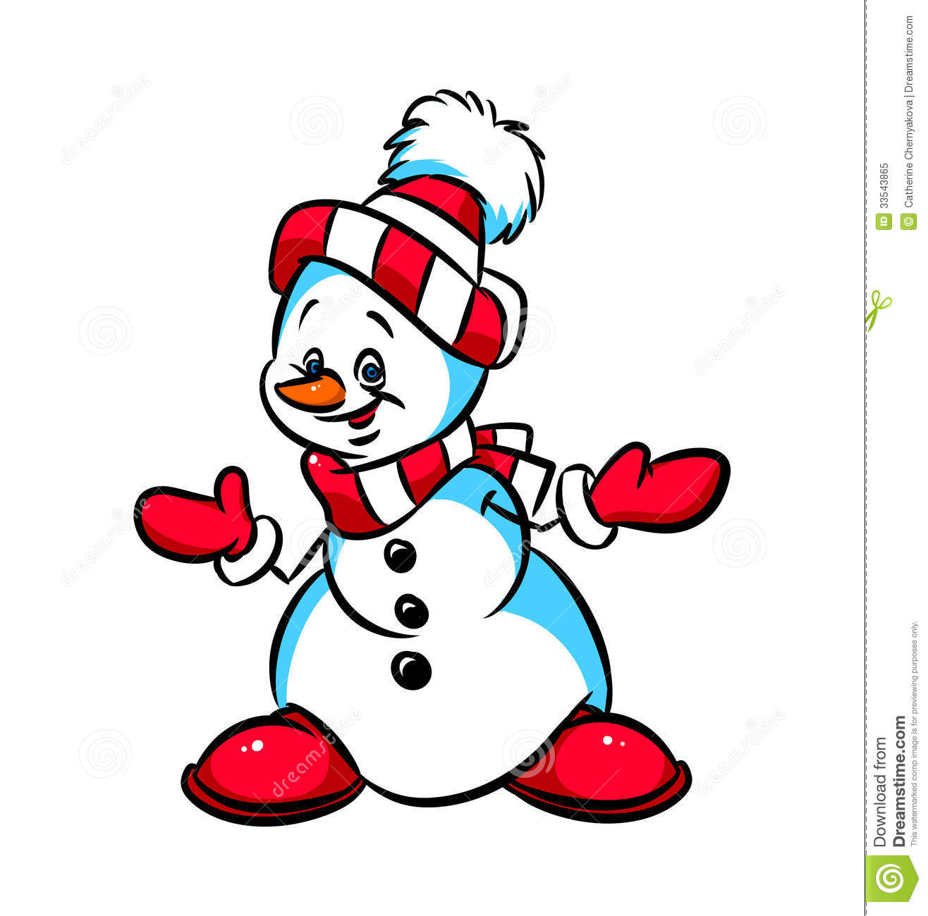 Snowman congratulations christmas cartoon illustration - Bonhomme de neige decoration exterieure ...