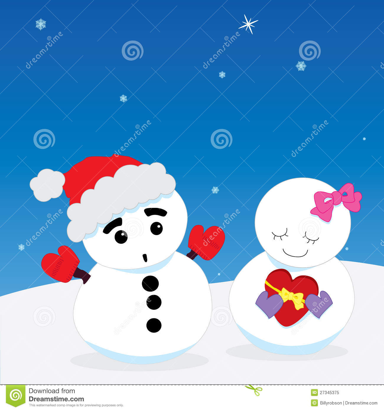 Valentine´s Day: Snowman & Snow - Woman. Snowy Couple In Love ...