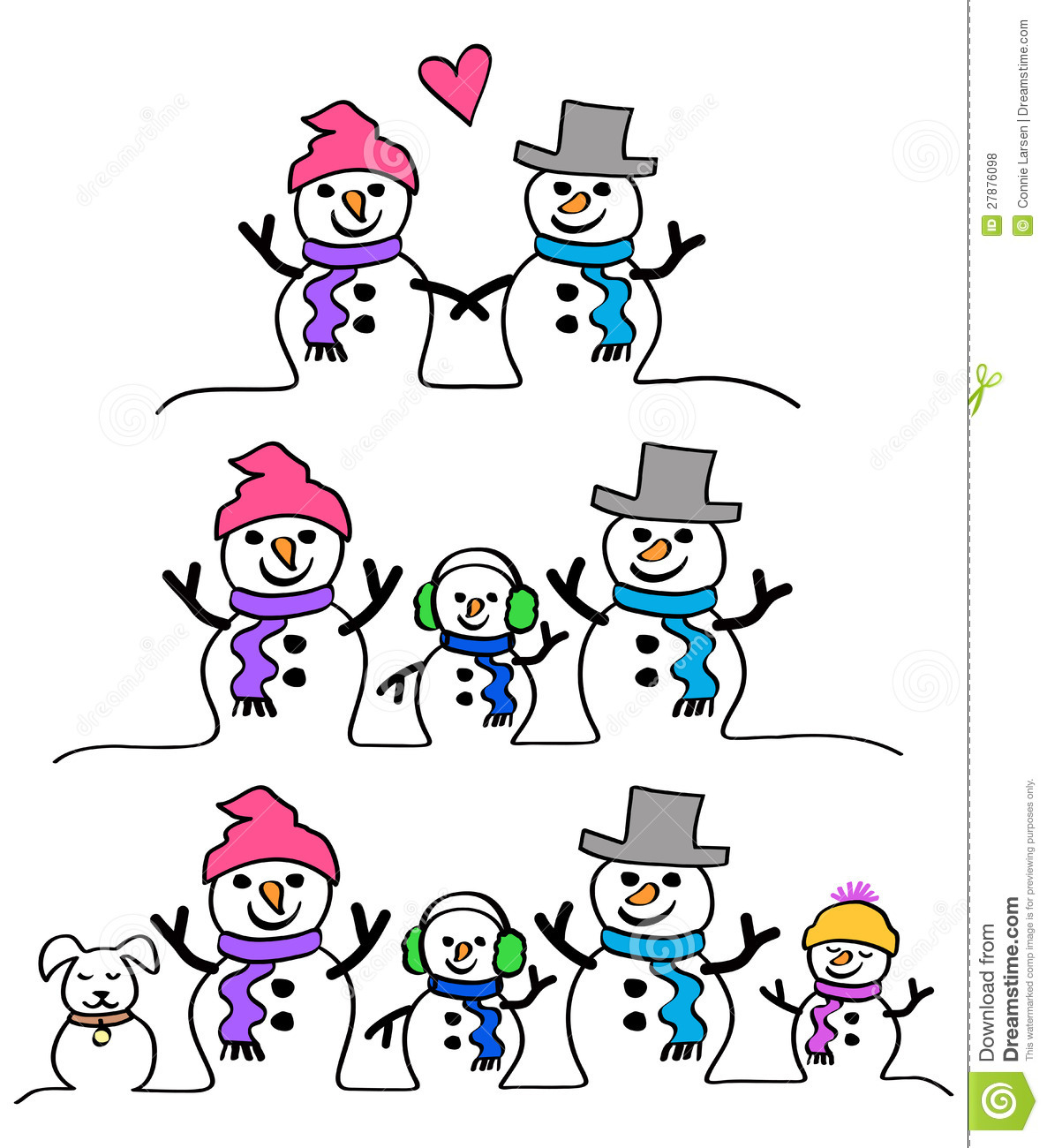 Snowman Couple And Familyeps Royalty Free Stock Photos Image 27876098