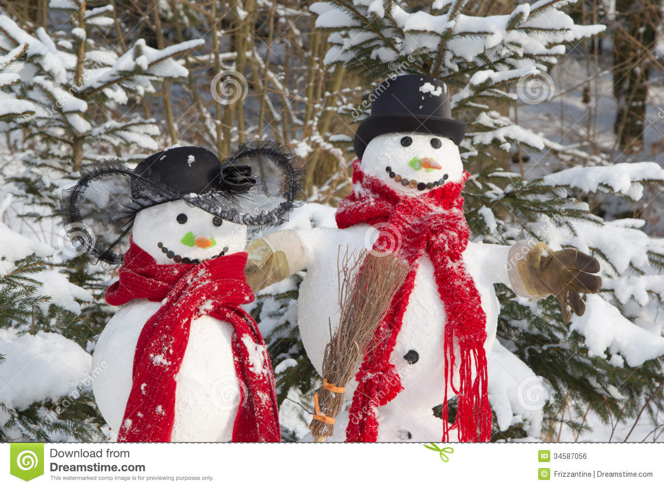 Snowman Couple In Winter Christmas Outdoor Decoration