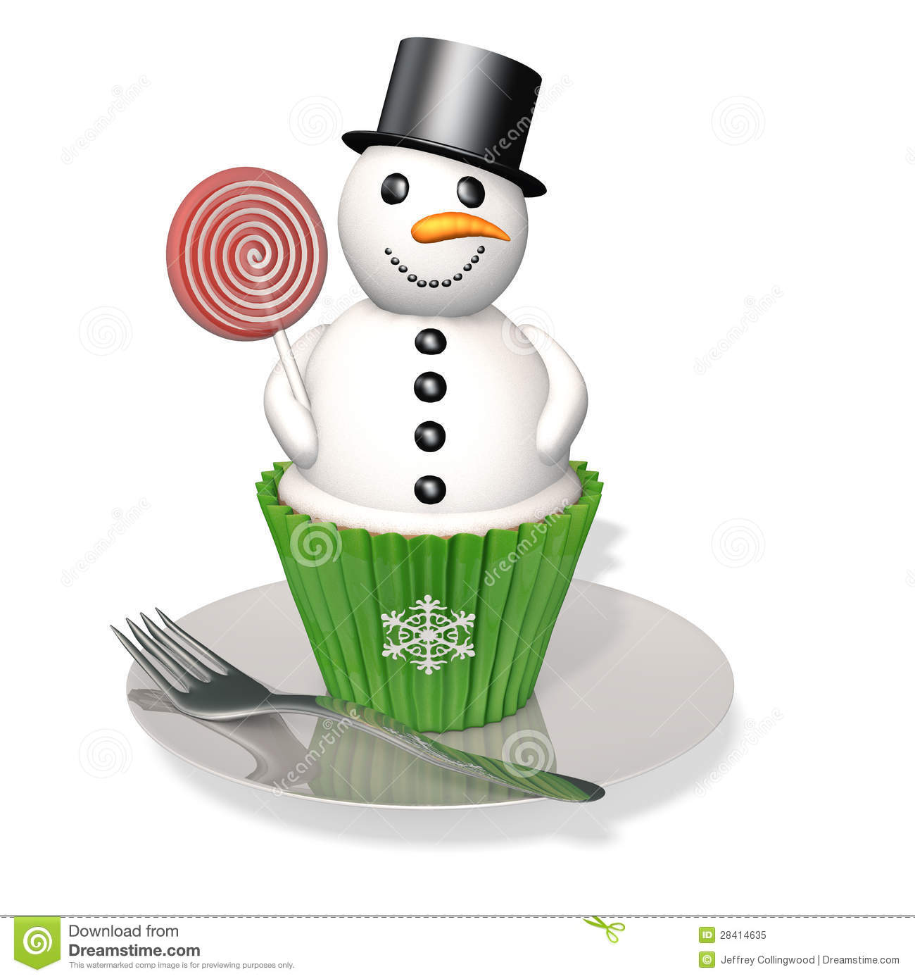 Snowman Cupcake: A snowman cupcake with licorice pieces and a candy ...