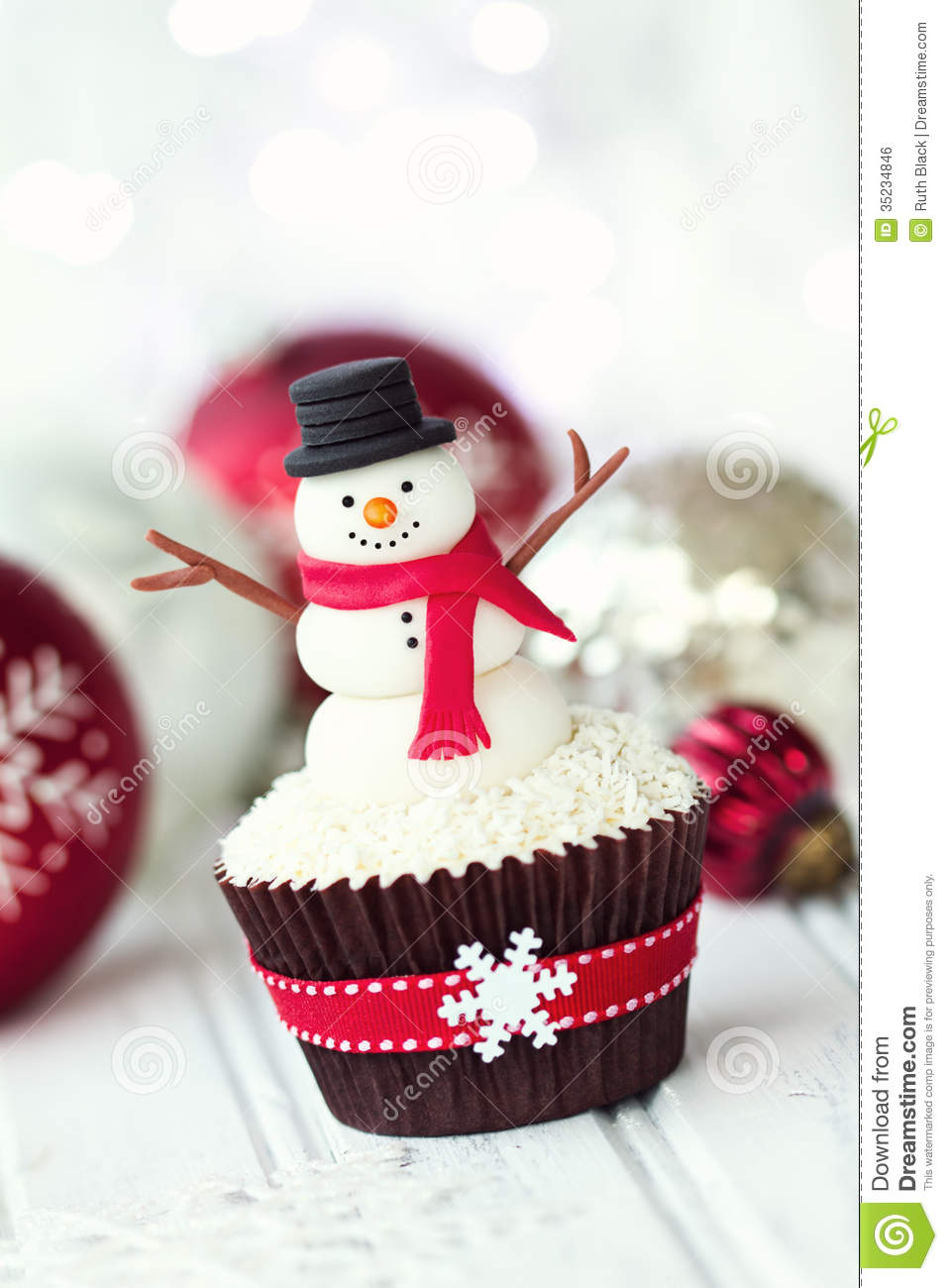 Snowman Cupcake Stock Photo Image Of Frosting Food