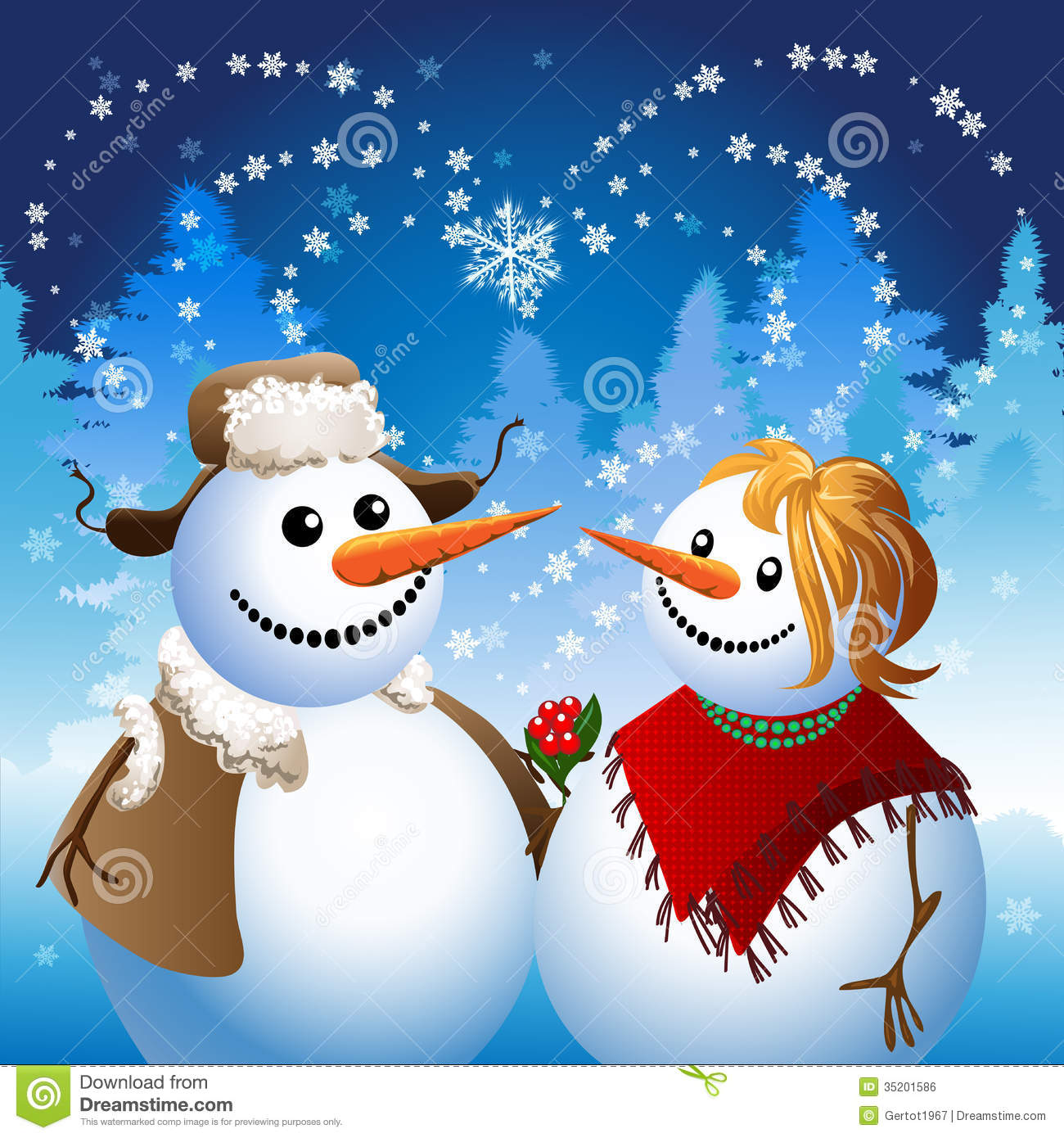 Illustration with two snowmen in romantic date against heart shaped ...