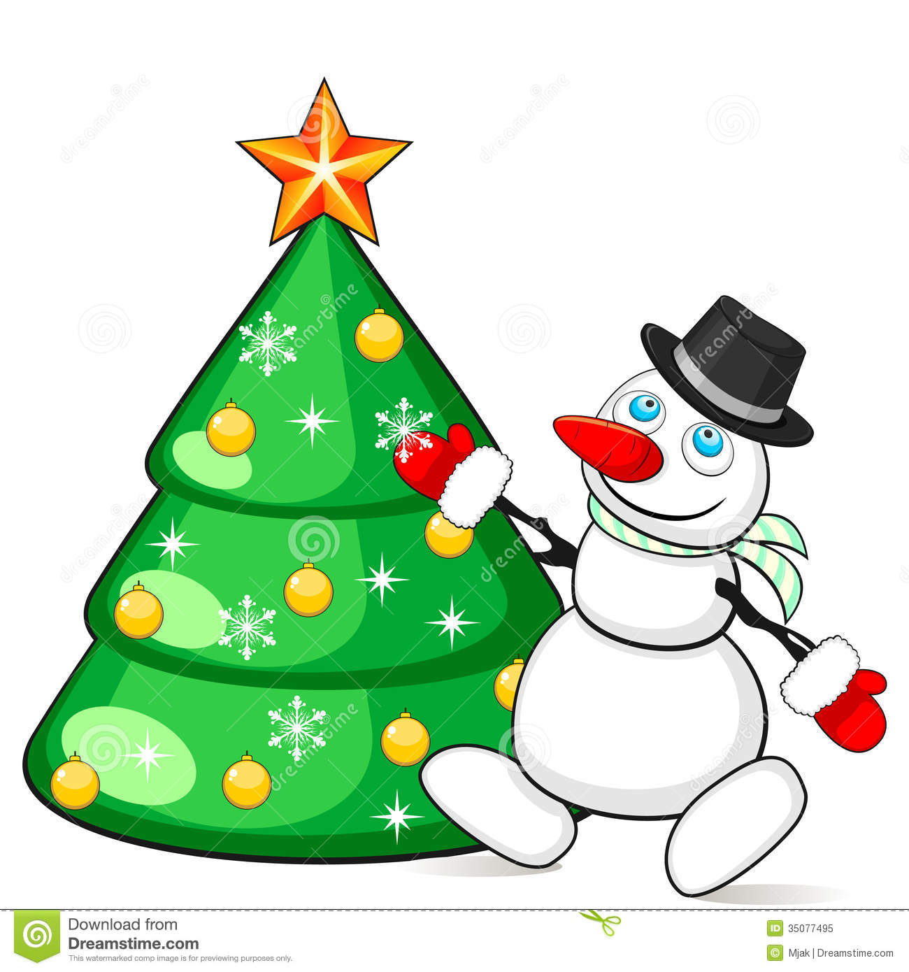 Snowman Decorating Christmas Tree Royalty Free Stock Photo - Image ...
