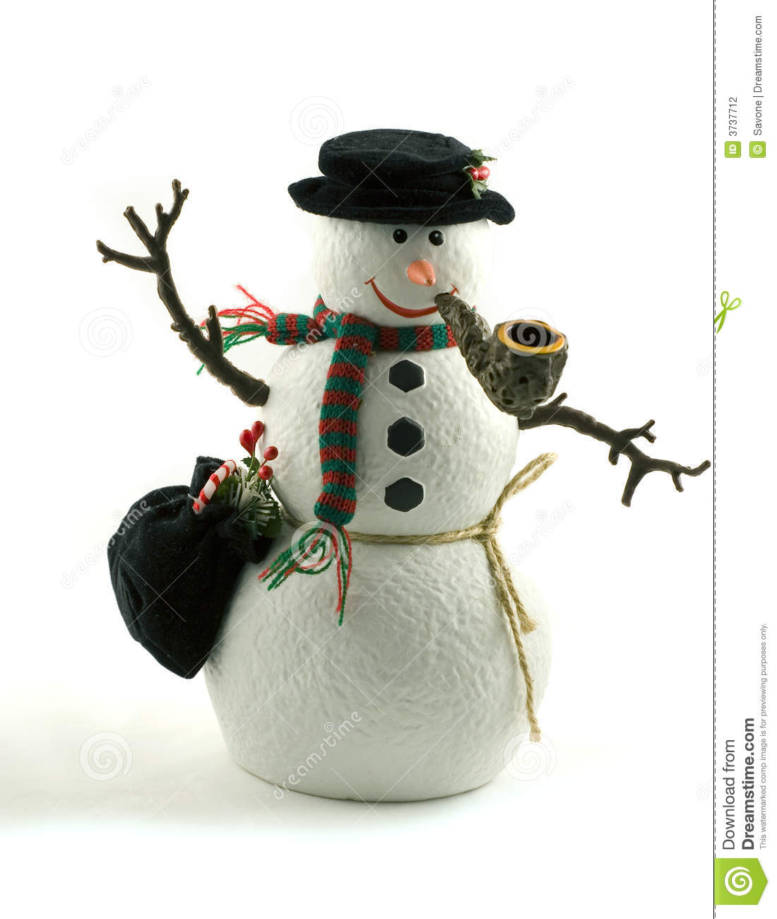 snowman decoration smoking a pipe stock photo image of green winter 3737712. Black Bedroom Furniture Sets. Home Design Ideas