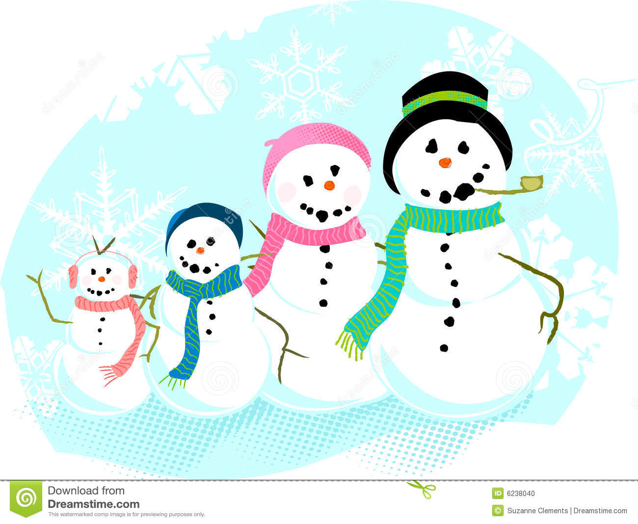 Snowman Family Stock Vector Illustration Of Cold Cheerful