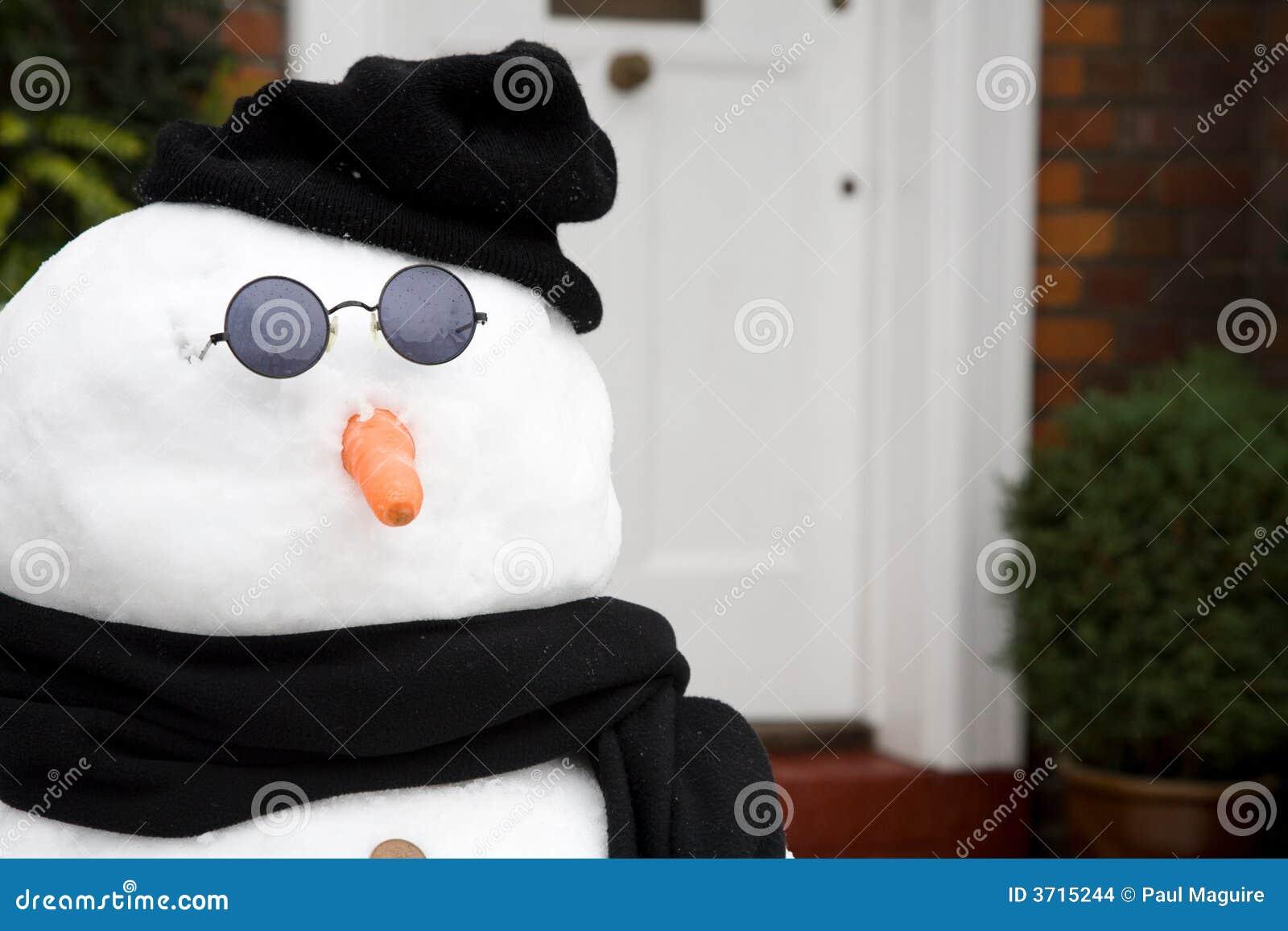 Snowman at front door