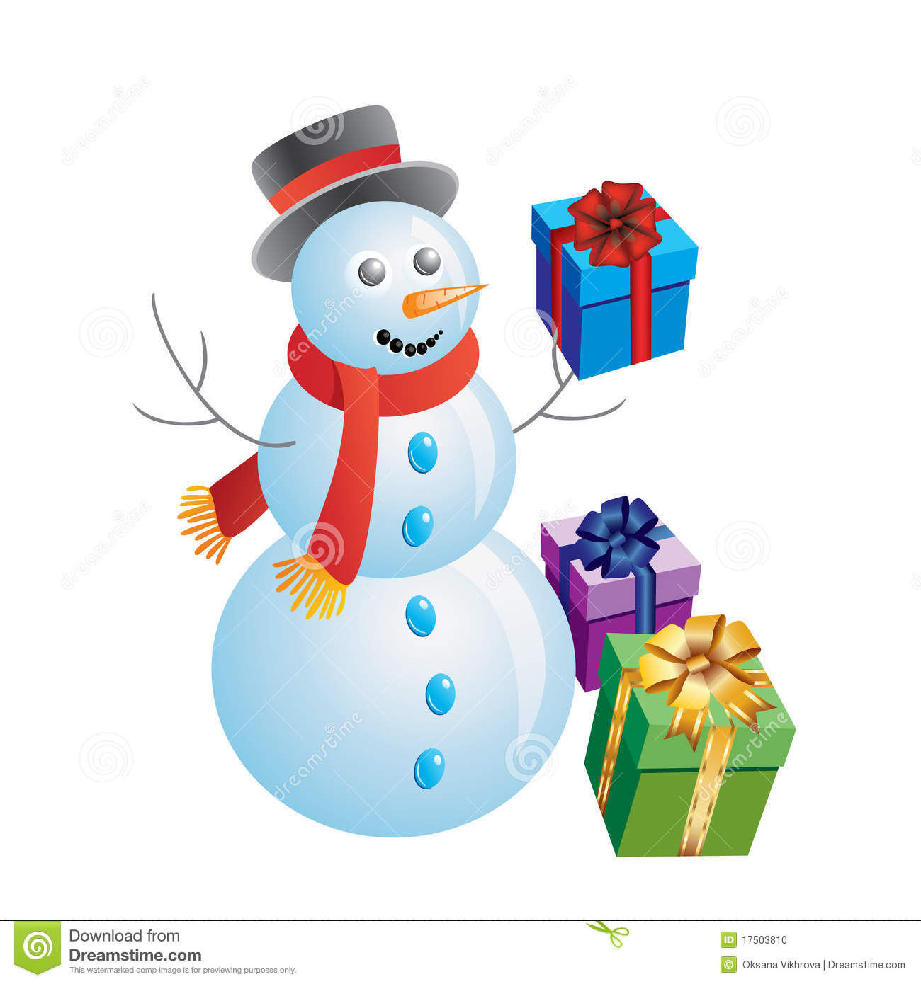 snowman with gifts stock photo image 17503810