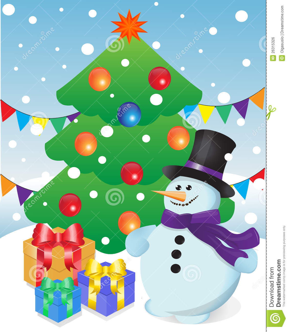 Snowman And Gifts At Christmas Tree Stock Illustration ...