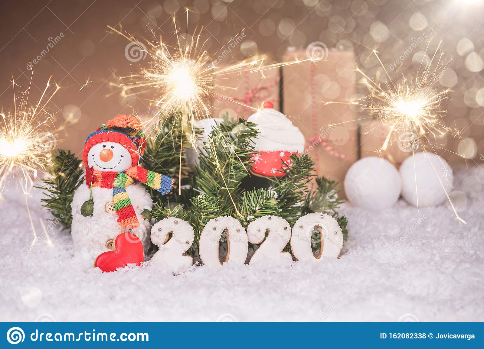 Snowman With Gingerbread And Christmas Decorations, Happy ...