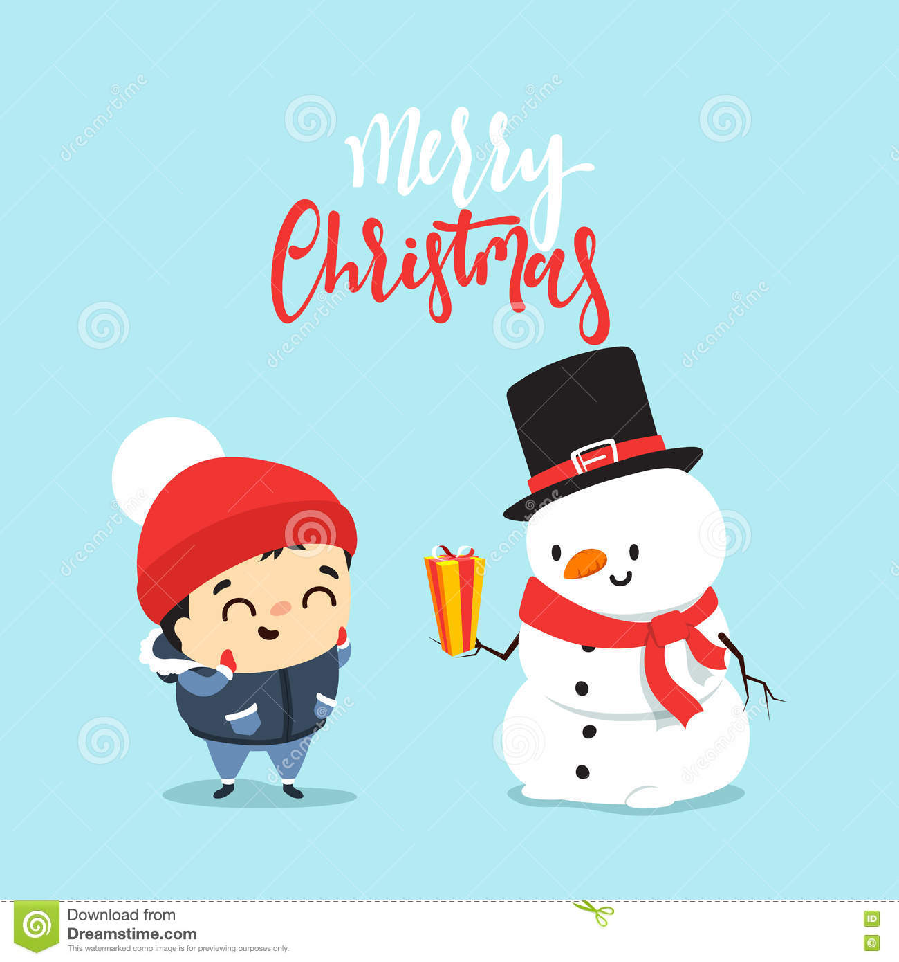 Snowman Give A Gift To A Child A Boy Stock Vector