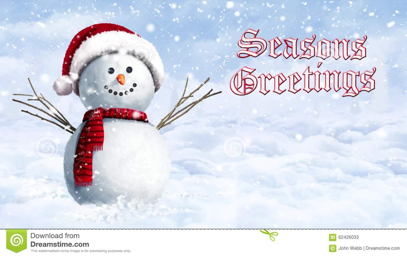 Snowman Hanging Out On A Winter Day Seasons Greetings Stock Video