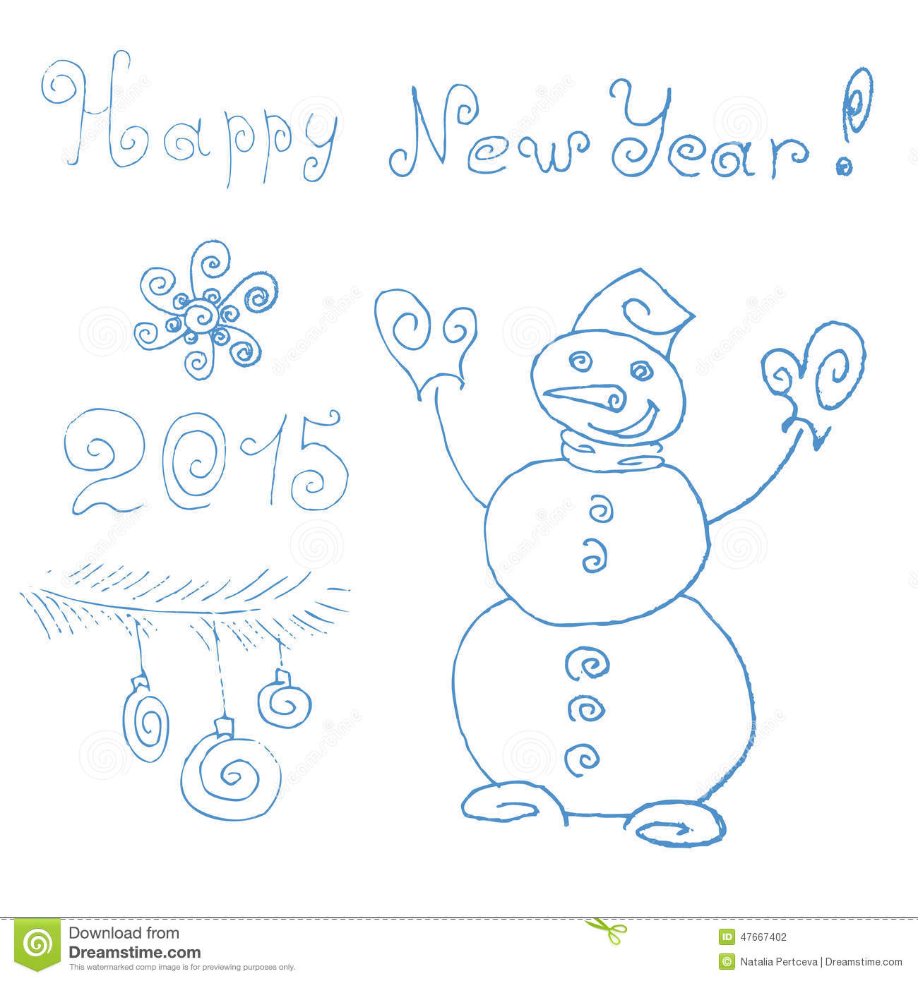 New Year S Line Art : Snowman happy new year hand drawing stock vector