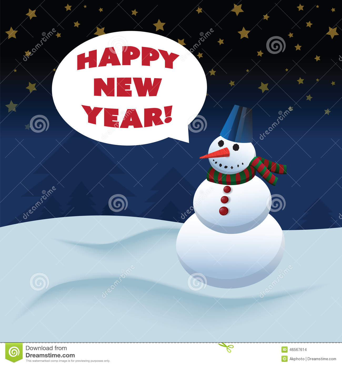 Snowman with happy new year text stock vector