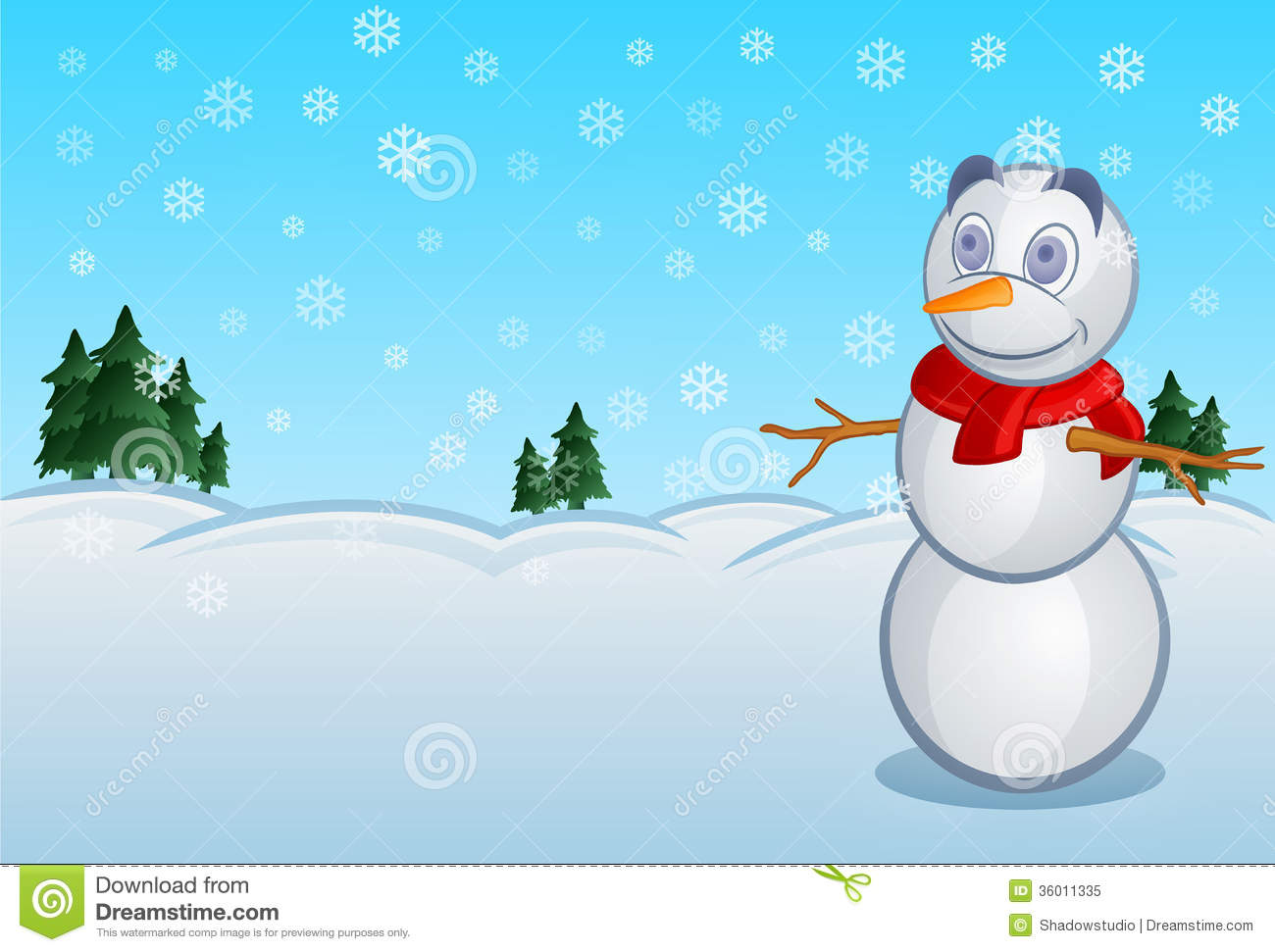 Snowman Stock Vector Image Of Cheerful Graphic