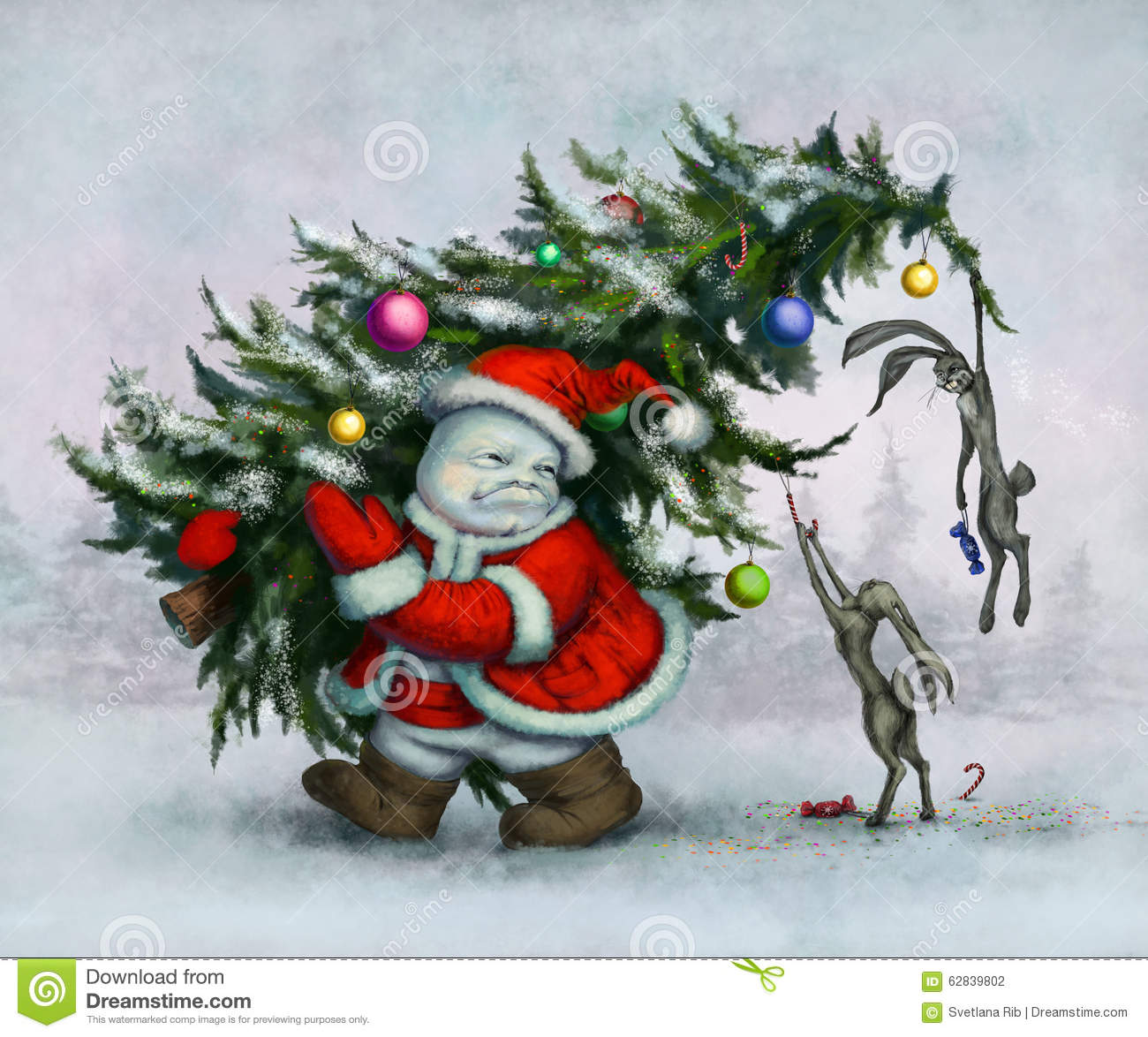 Snowman and hares