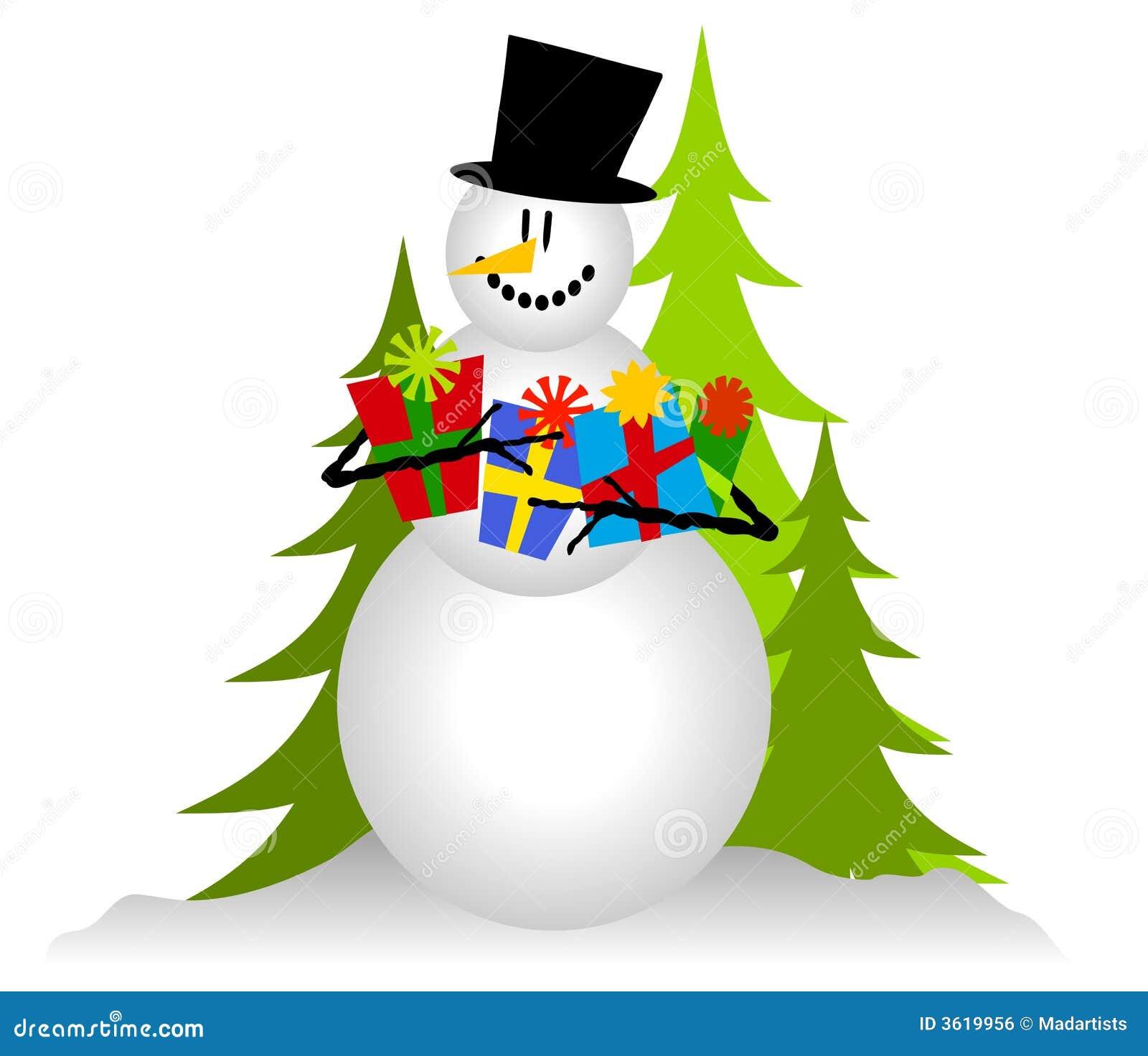 Snowman Holding Christmas Gifts 2 Stock Illustration - Illustration ...