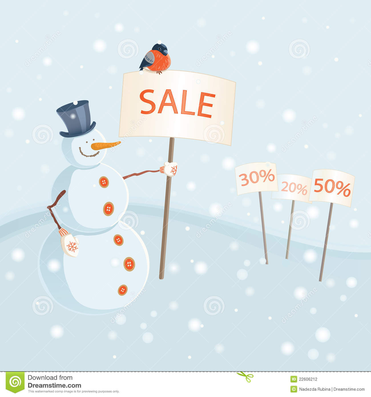 Funny winter sale announcement with a smiling snowman holding a banner