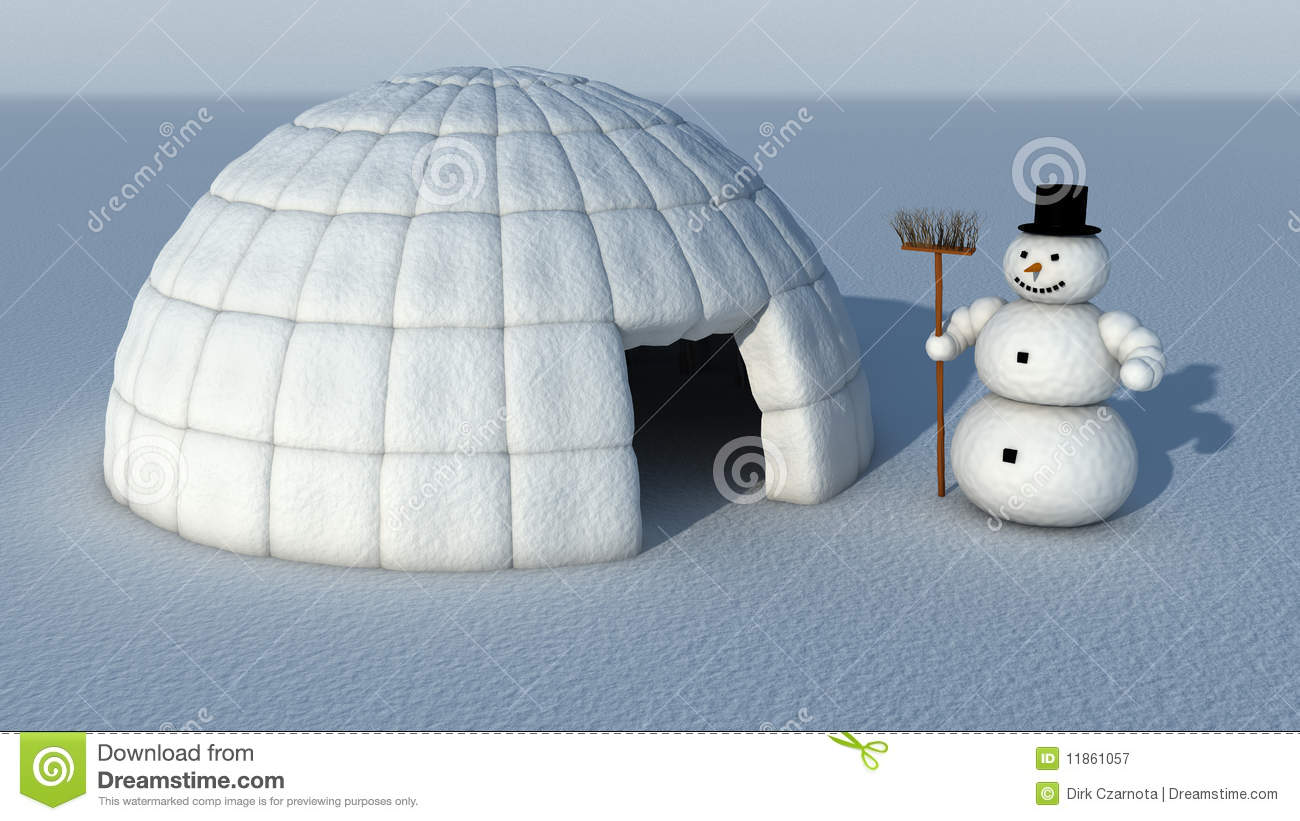 Snowman And Igloo Royalty Free Stock Photography - Image: 11861057