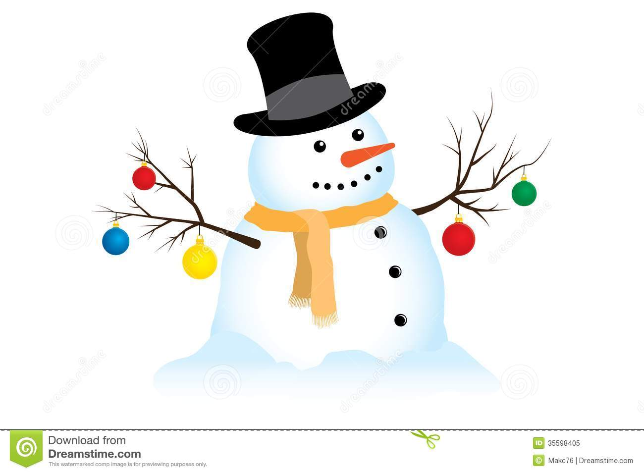 vector illustration of a smiling snowman