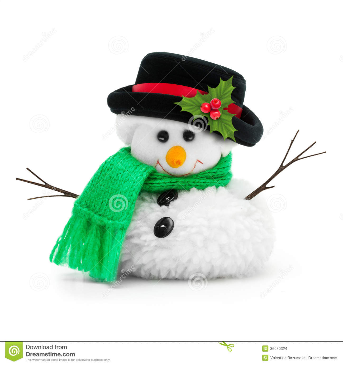 Snowman in black hat isolated on white background.