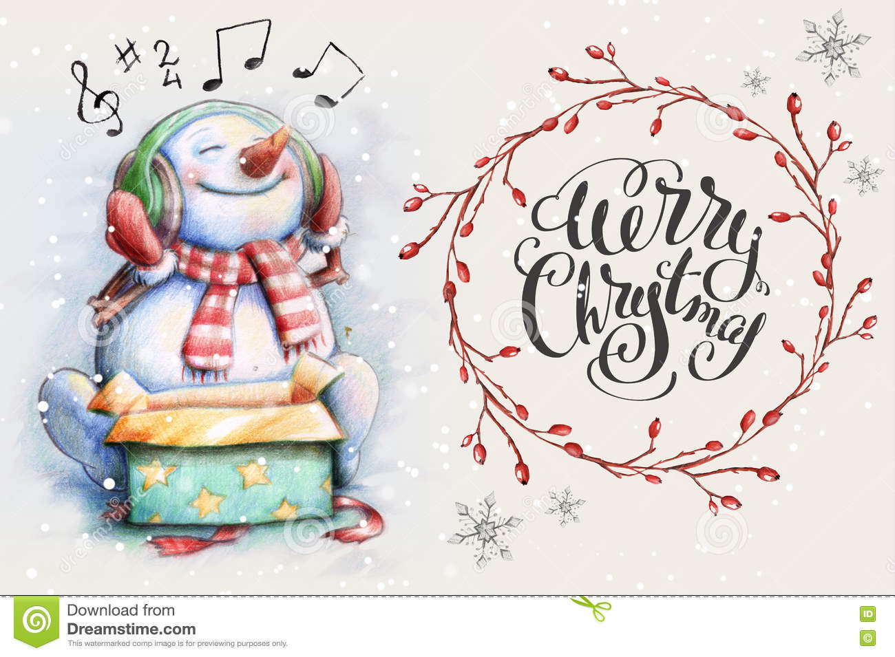 Snowman listening christmas song stock illustration illustration snowman listening christmas song watercolor illustration for greeting card m4hsunfo