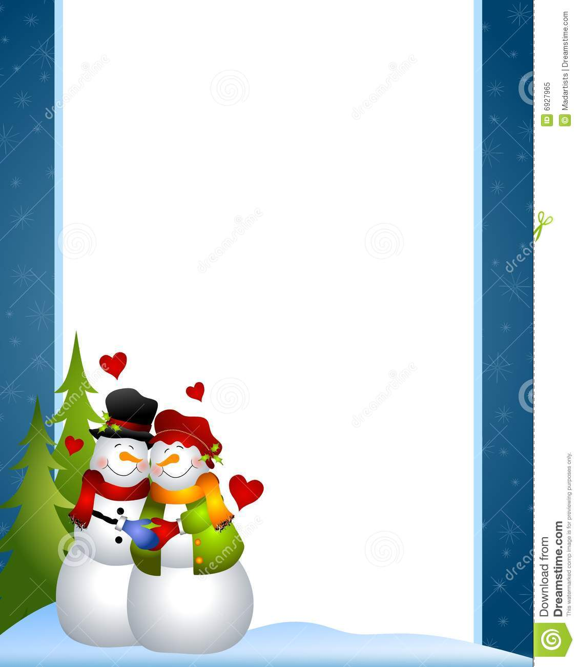 clip art illustration of a snowman and snow woman couple embracing ...