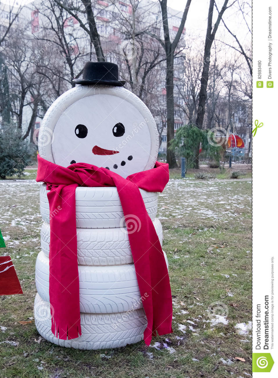 Snowman made by tire car stock photo image of tires for Snowmen made from tires