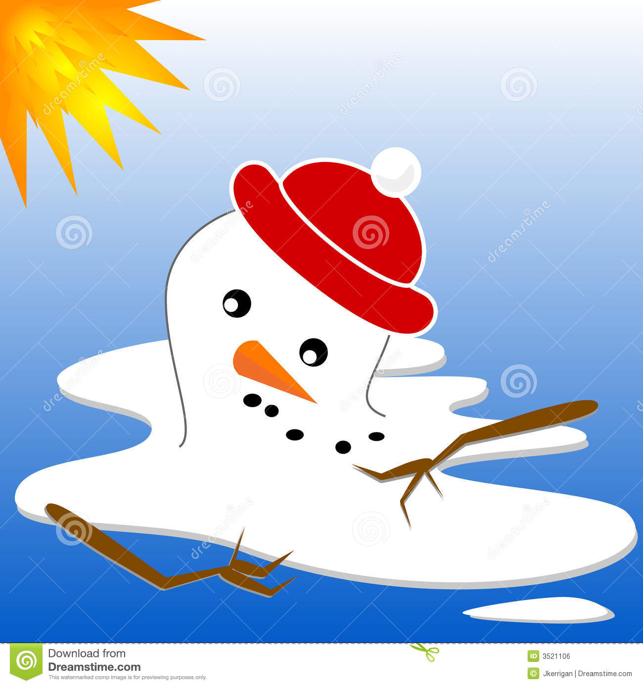 Snowman Melt Royalty Free Stock Image - Image: 3521106