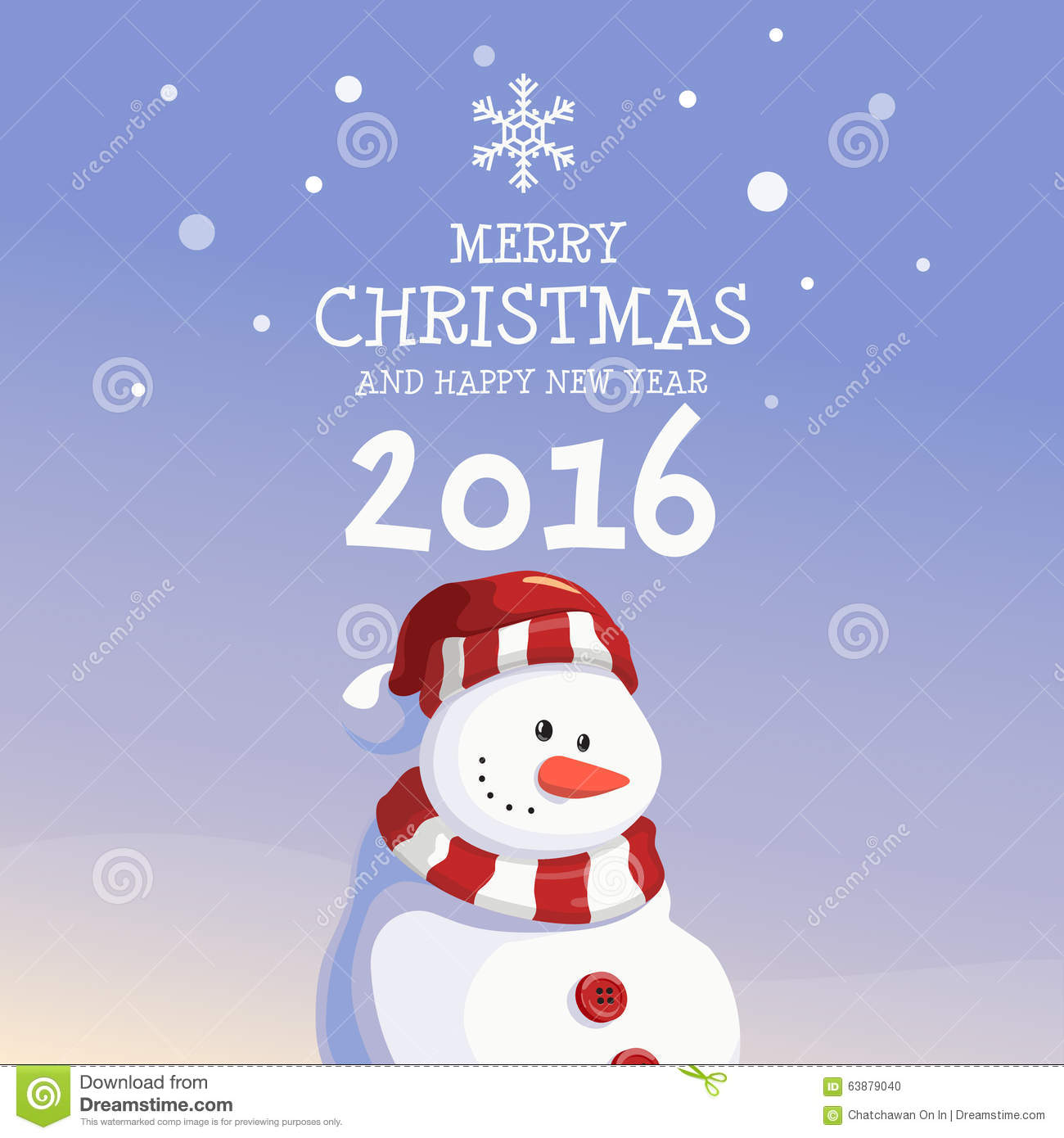 Snowman merry christmas and happy new year stock