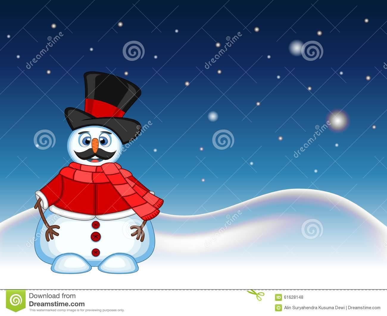 Snowman With Mustache Wearing A Hat, Red Sweater And A Red Scarf ...