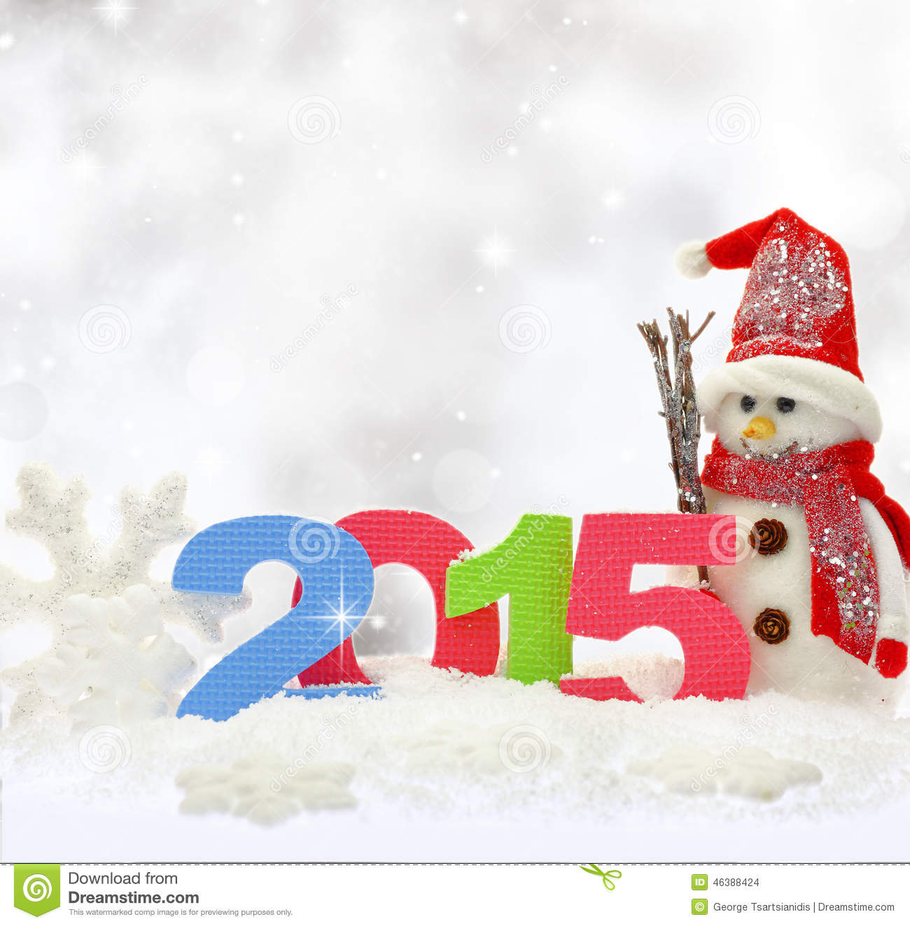 Snowman and new year stock photo image