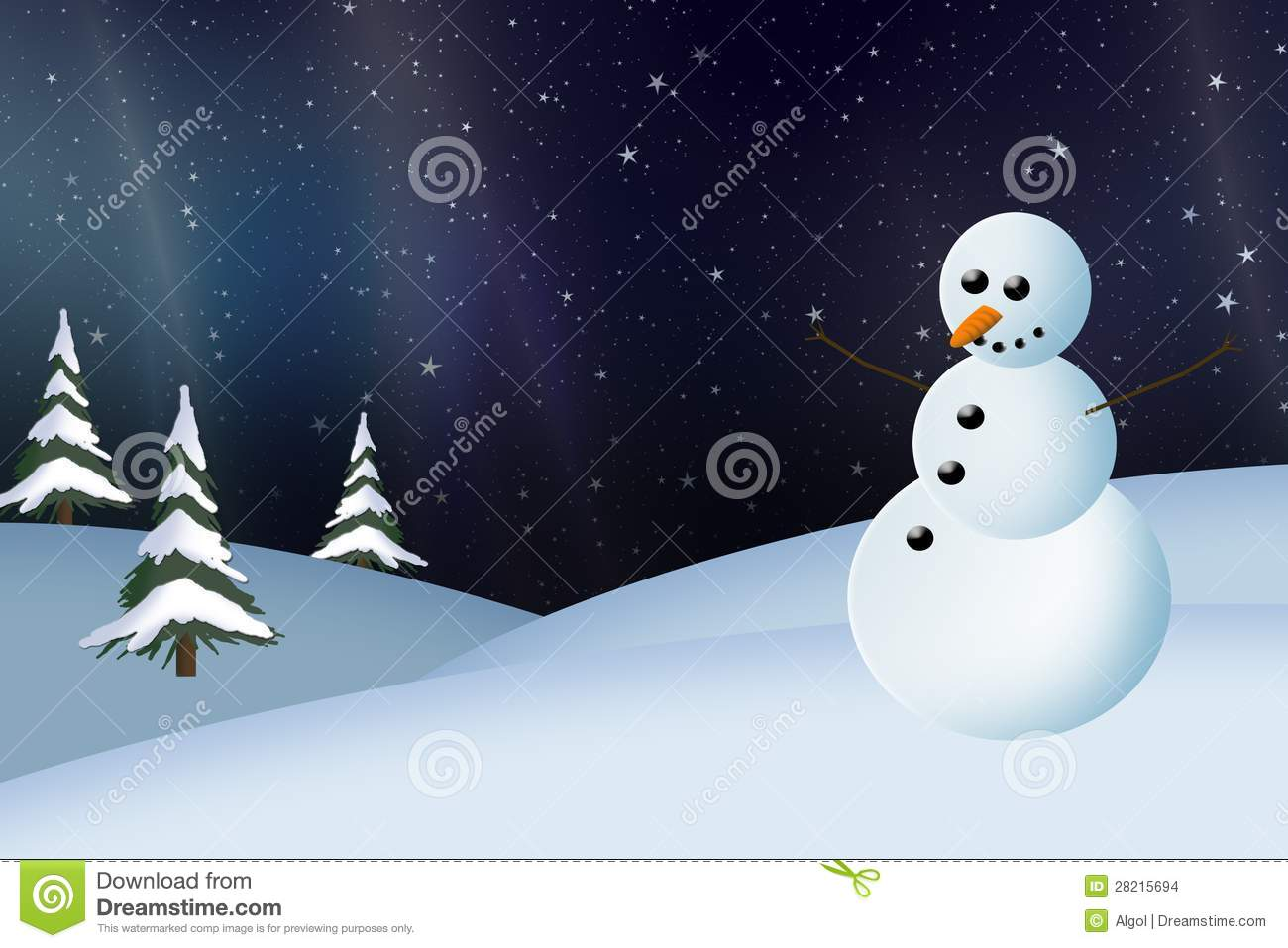 Snowman And Northern Lights Christmas Card Stock Illustration ...