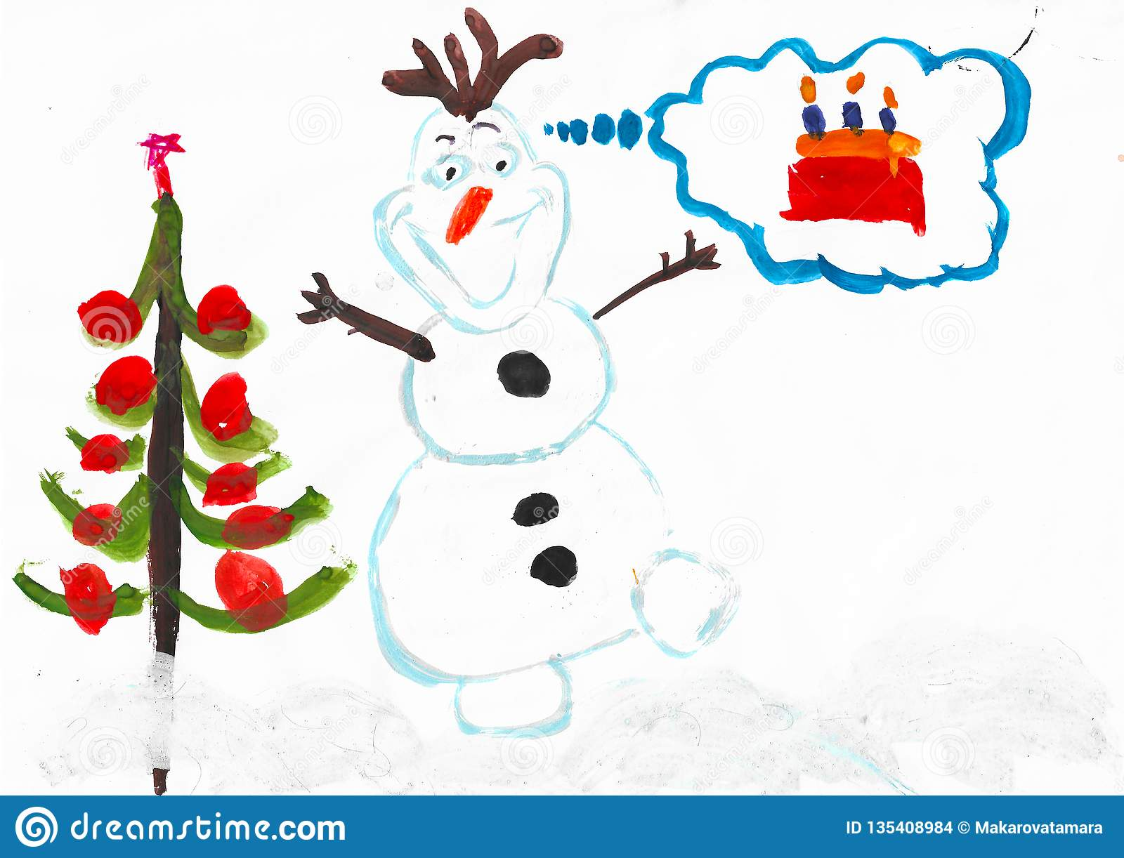 Olaf Christmas Trees.Snowman Olaf Christmas Tree And Cake With Candles Child