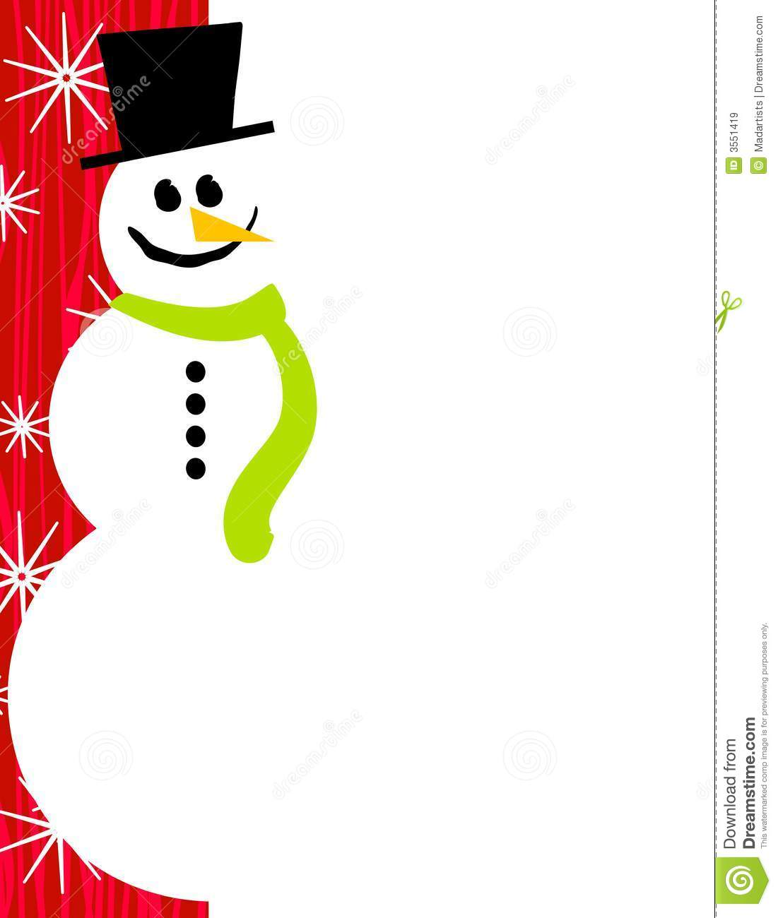 Snowman Page Border Red Royalty Free Stock Images Image: 3551419 ...