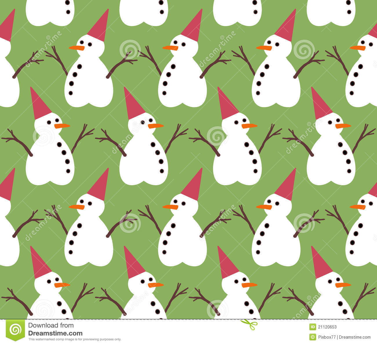 Snowman Pattern On Green Color Background Stock Illustration ...