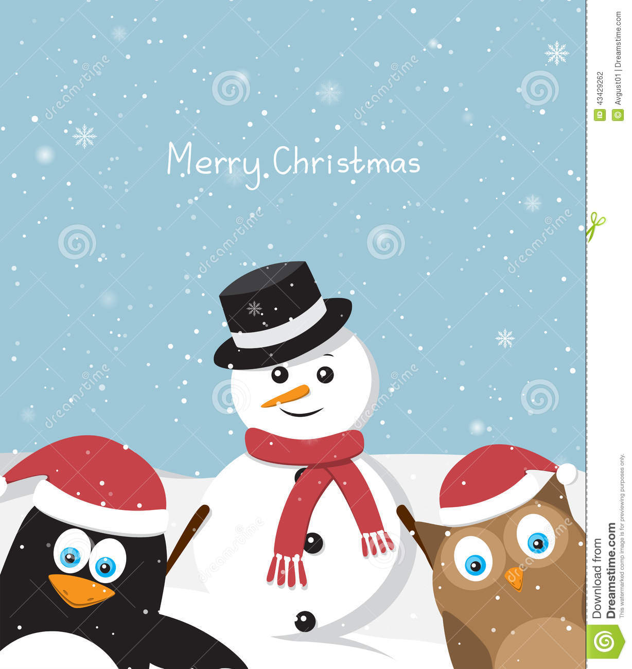 Snowman With Penguin And Owl Stock Vector - Illustration of ...
