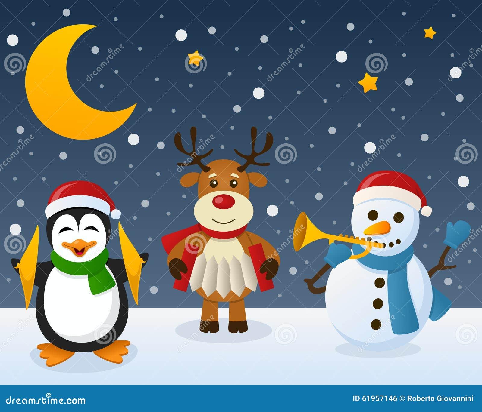 Snowman penguin reindeer on the snow stock vector image 61957146
